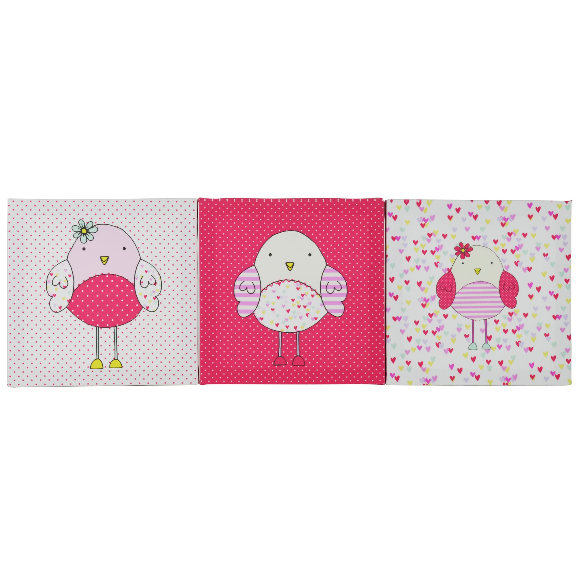 Kids Bella Birdy Collection Set of 3 Canvases