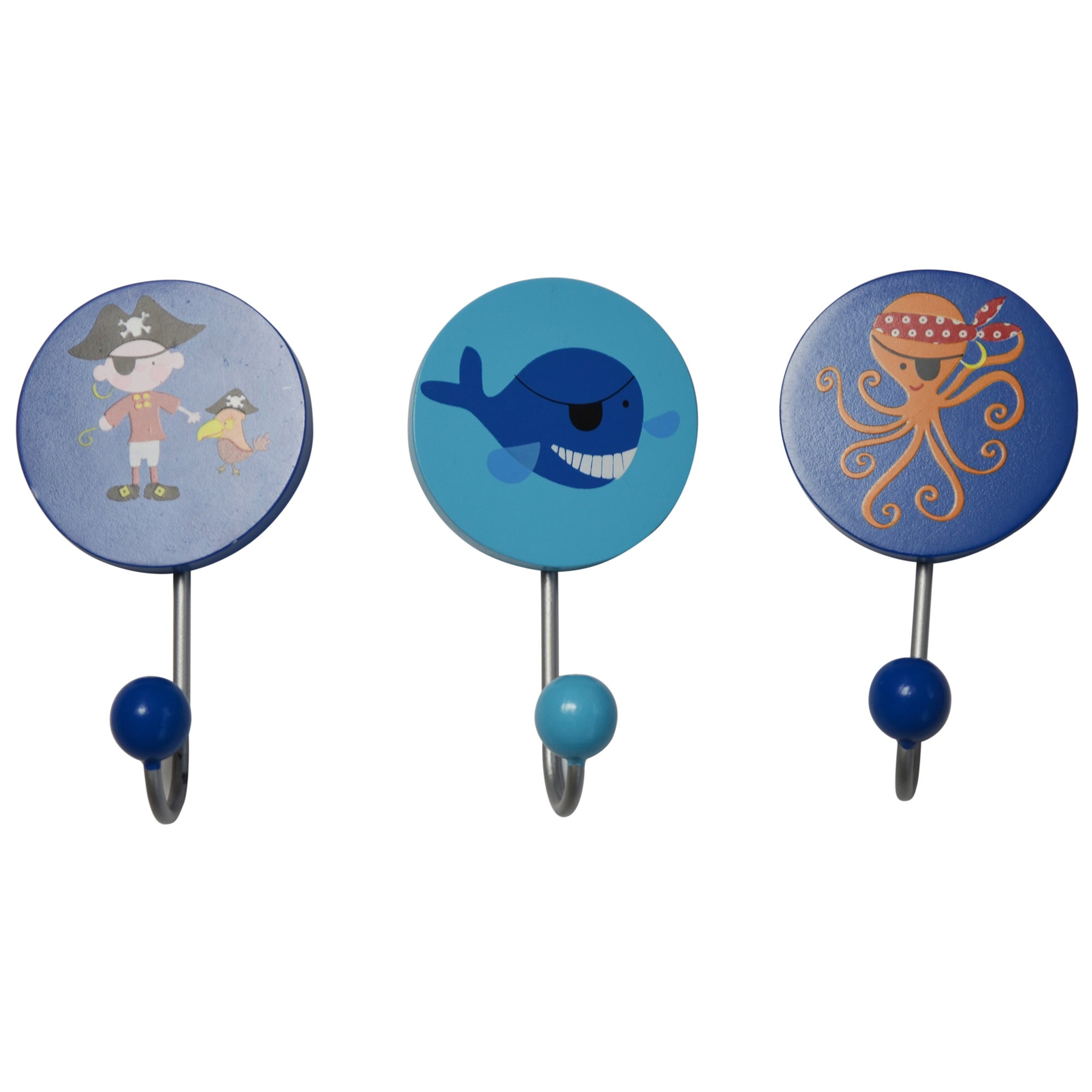 Kids Jolly Pirates Collection Set of 3 Wall Hooks