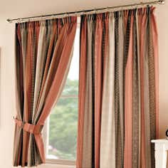 Terracotta Mizar Pencil Pleat Curtains