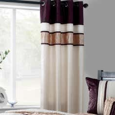 Plum Manhattan Lined Eyelet Curtains