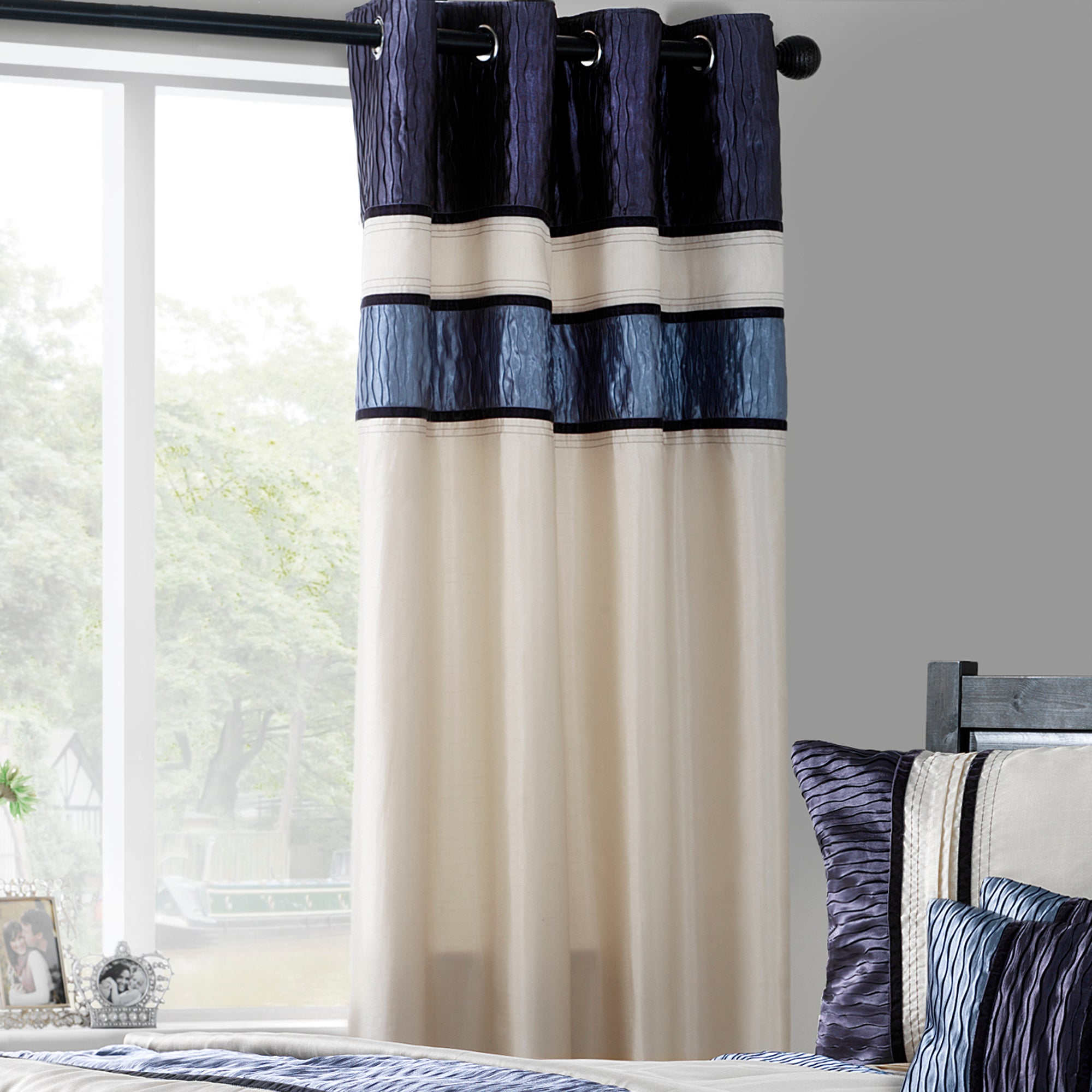Blue Manhattan Lined Eyelet Curtains