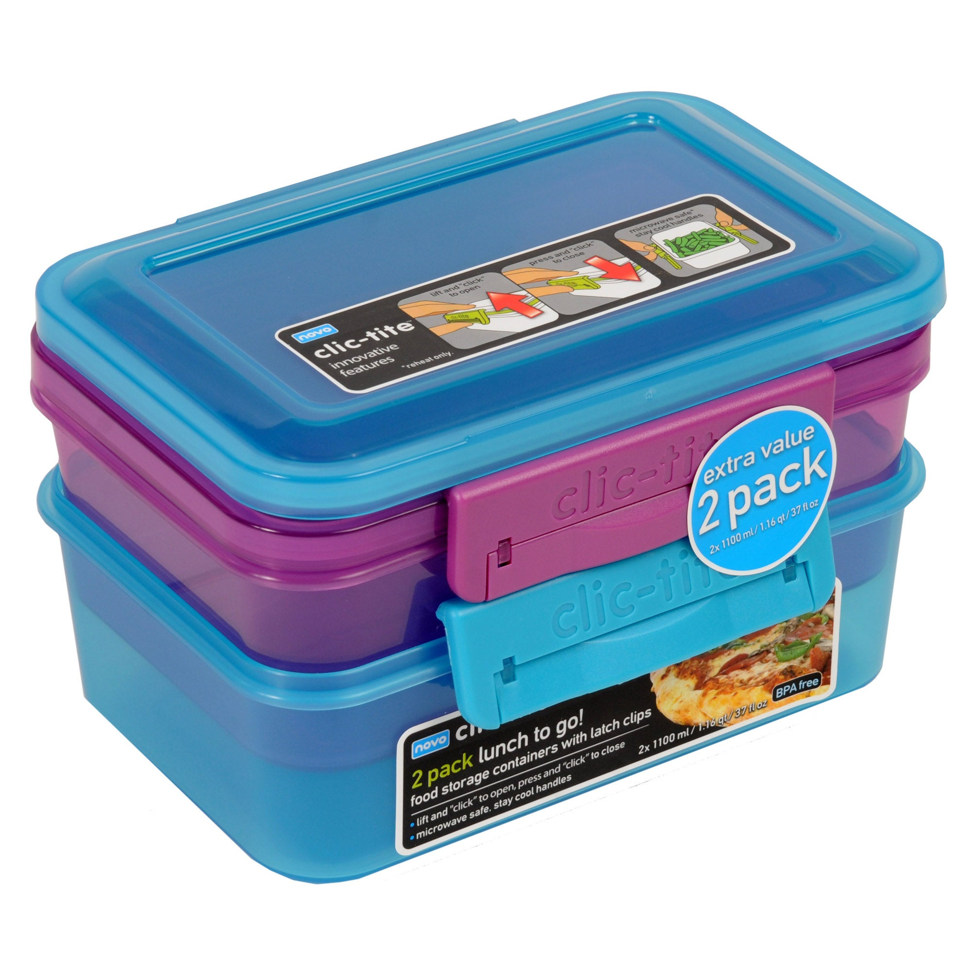 Clic-Tite Pack of Two 1.1 Litre Lunch Boxes
