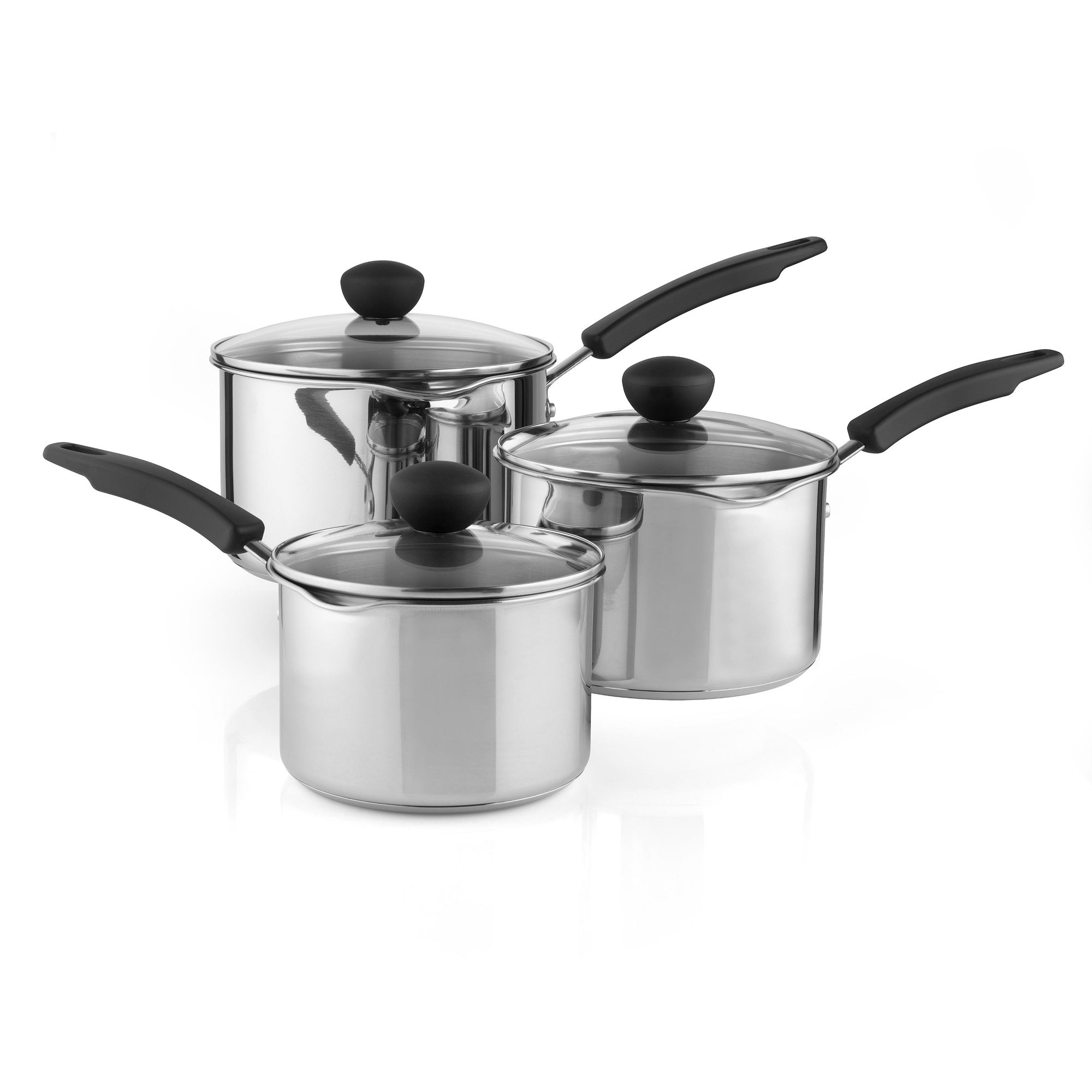 Stainless Steel Set of 3 Saucepans