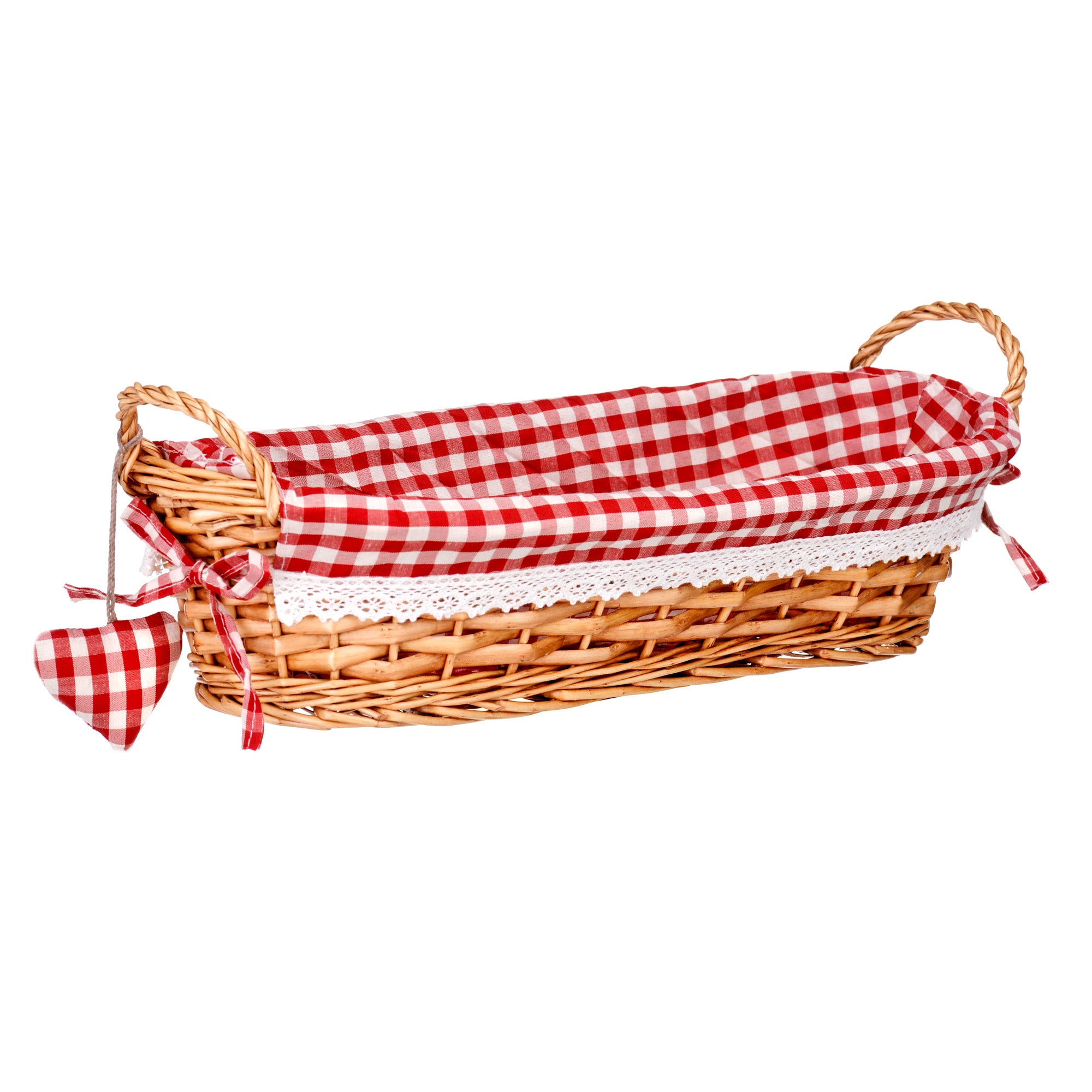 Long Willow Bread Basket with Red Gingham Lining