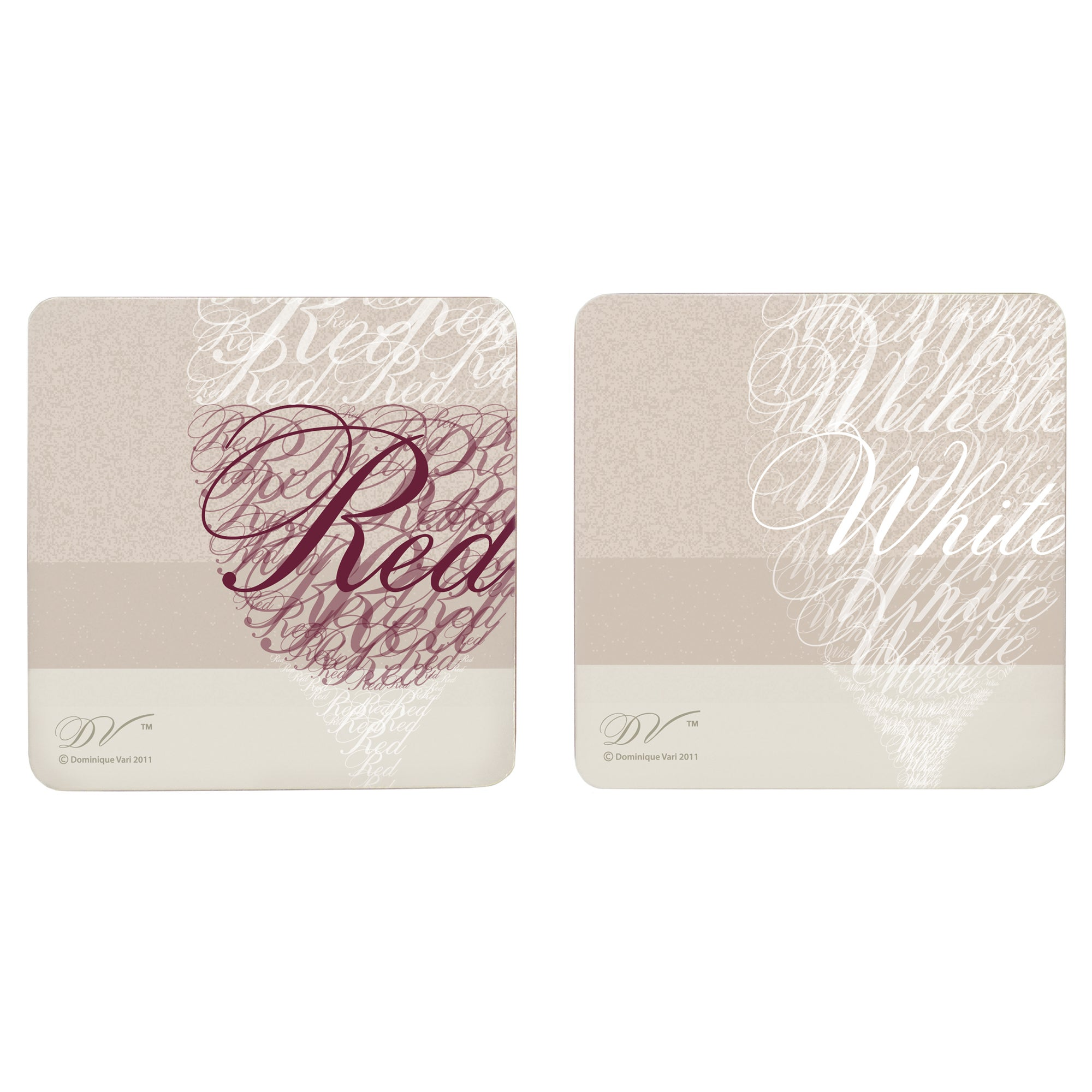 Wine Square Collection Set of 4 Coasters