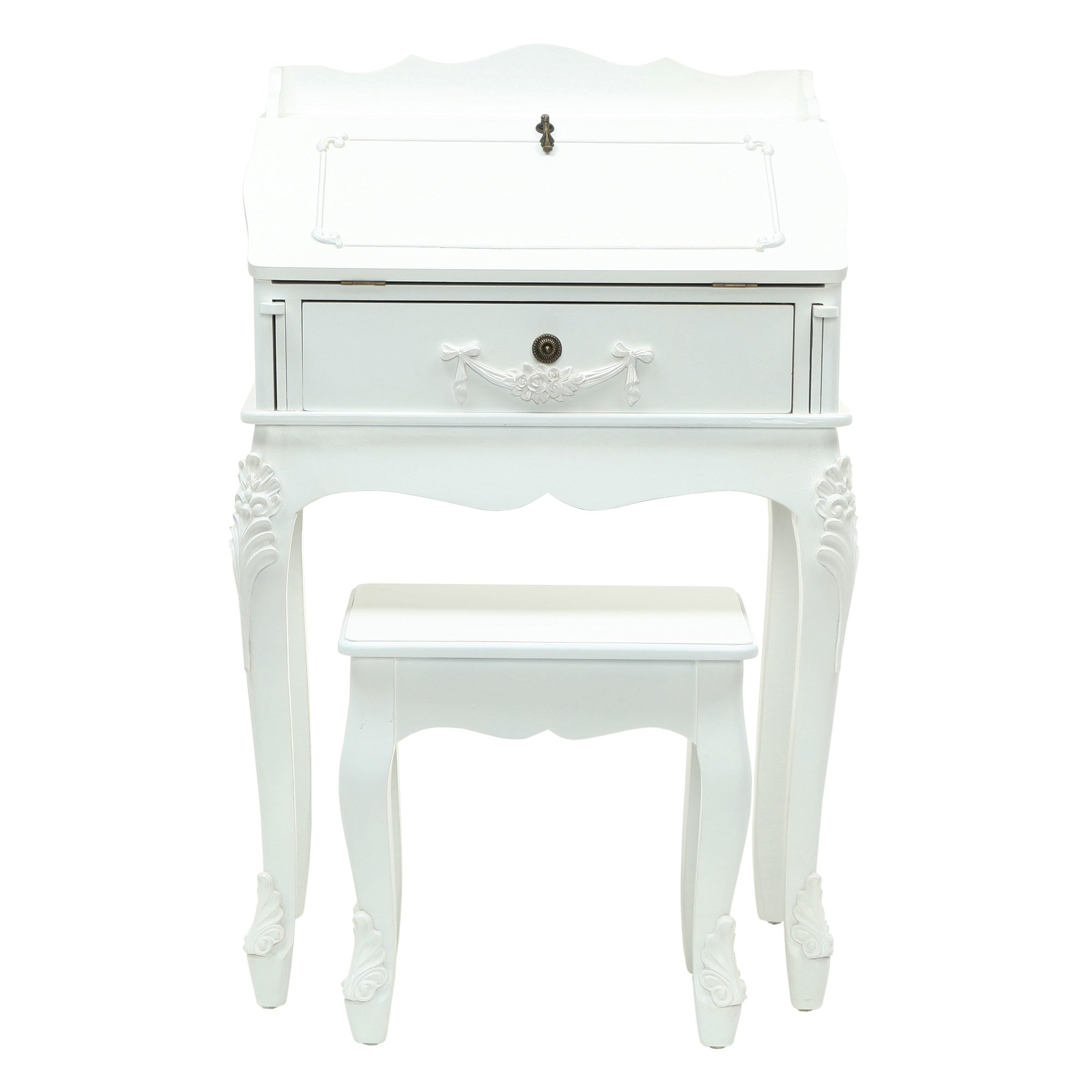 Toulouse White Wood Bureau with Stool