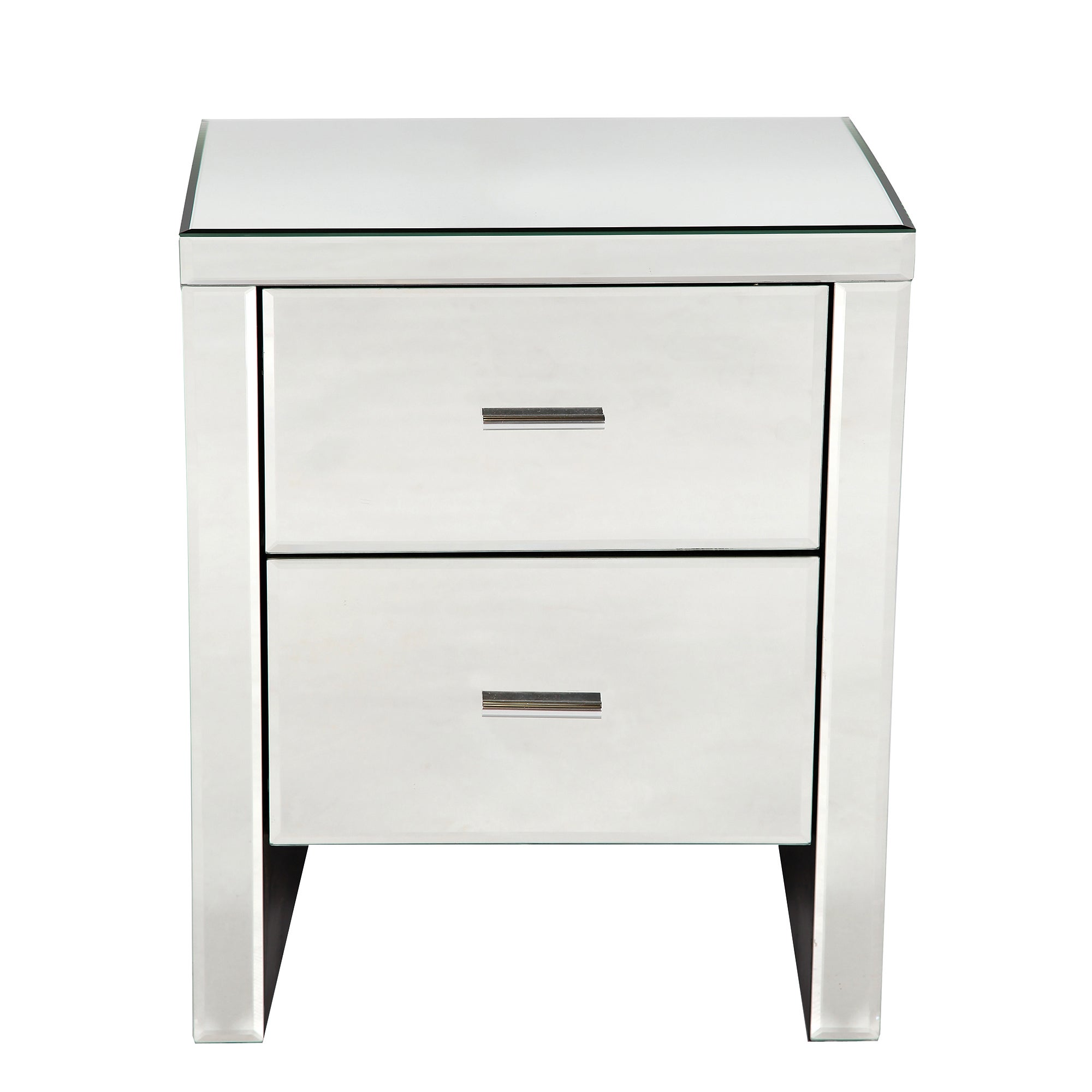 Venetian 2 Drawer Mirrored Bedside Cabinet