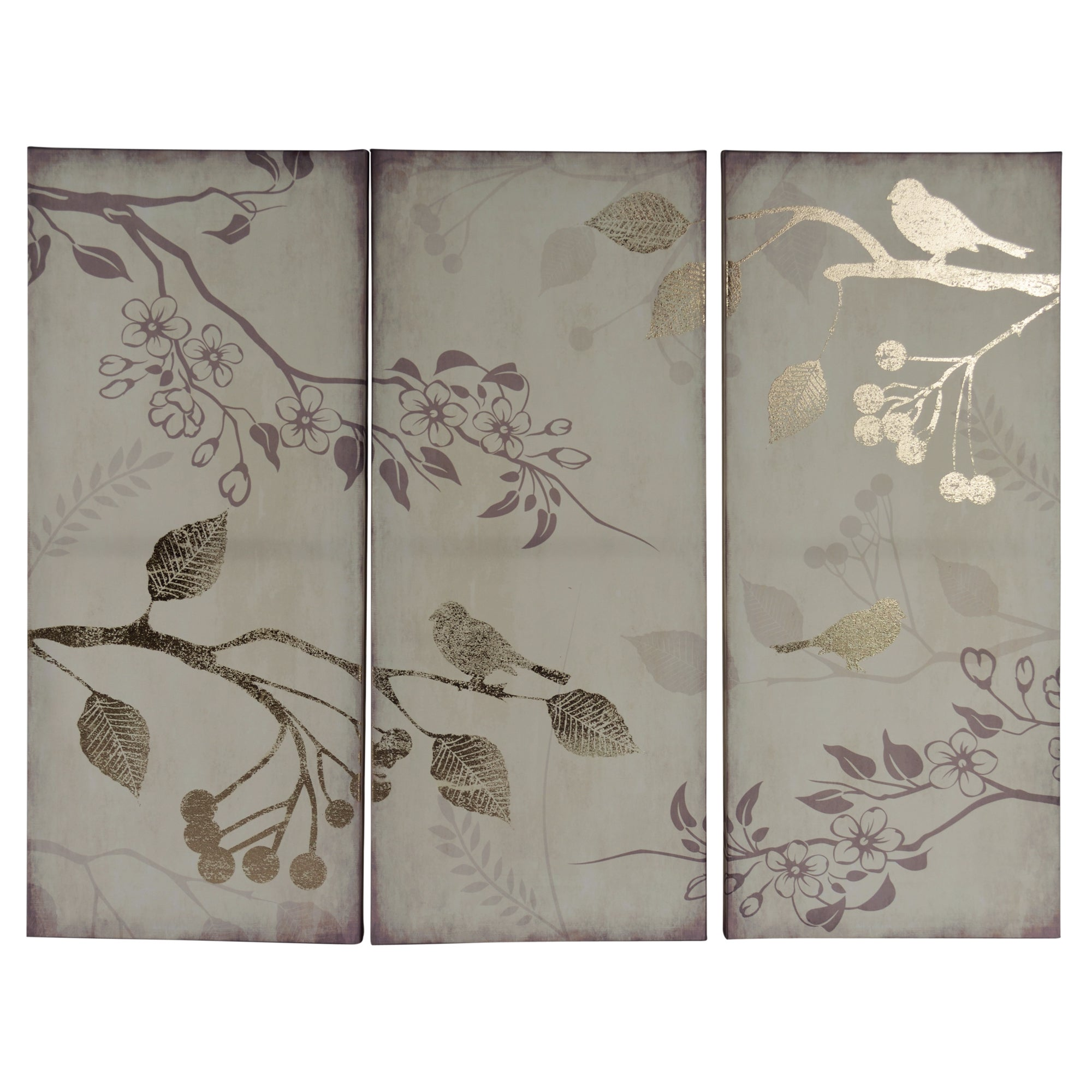 Foil Triptych Bird Printed Canvas