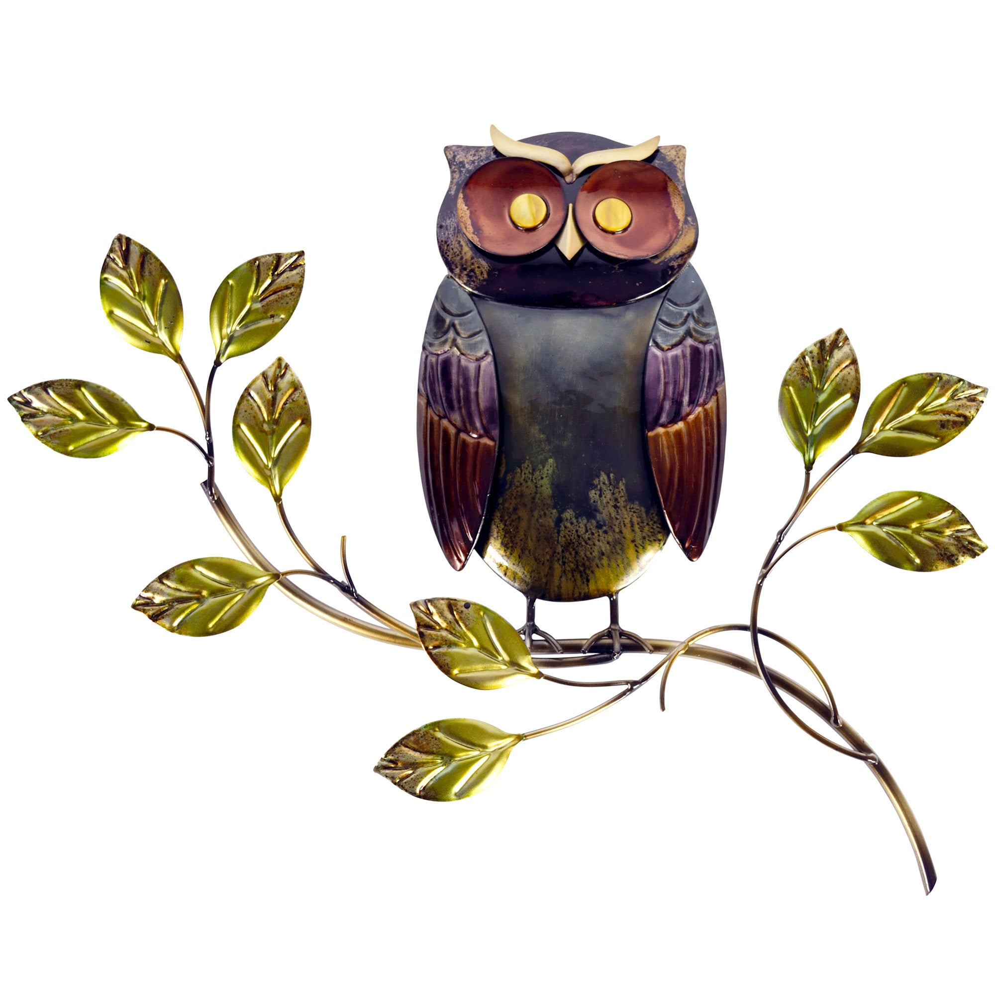 Owl on Branch Metal Wall Art