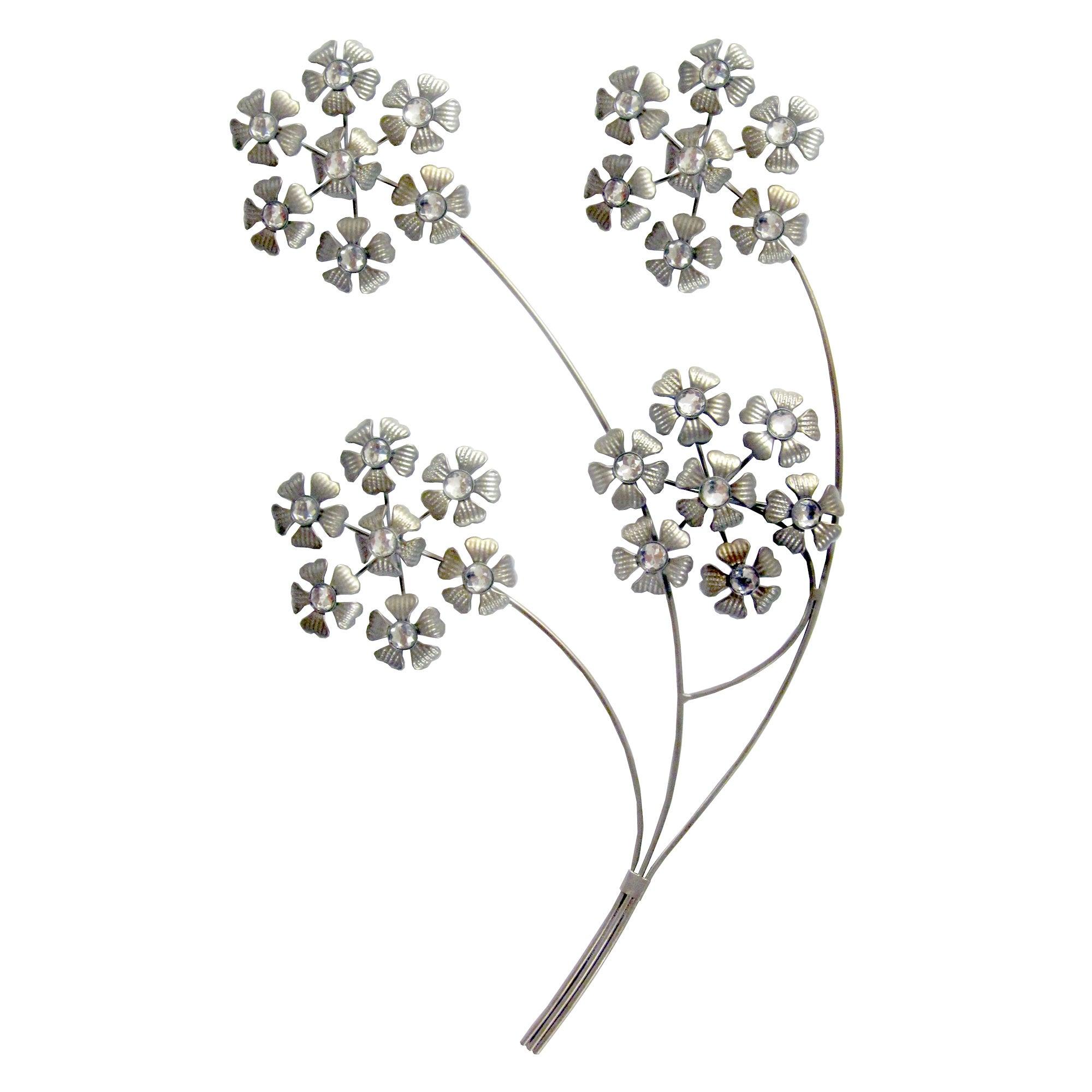 Silver Jewelled Hydrangea Heads Wall Art