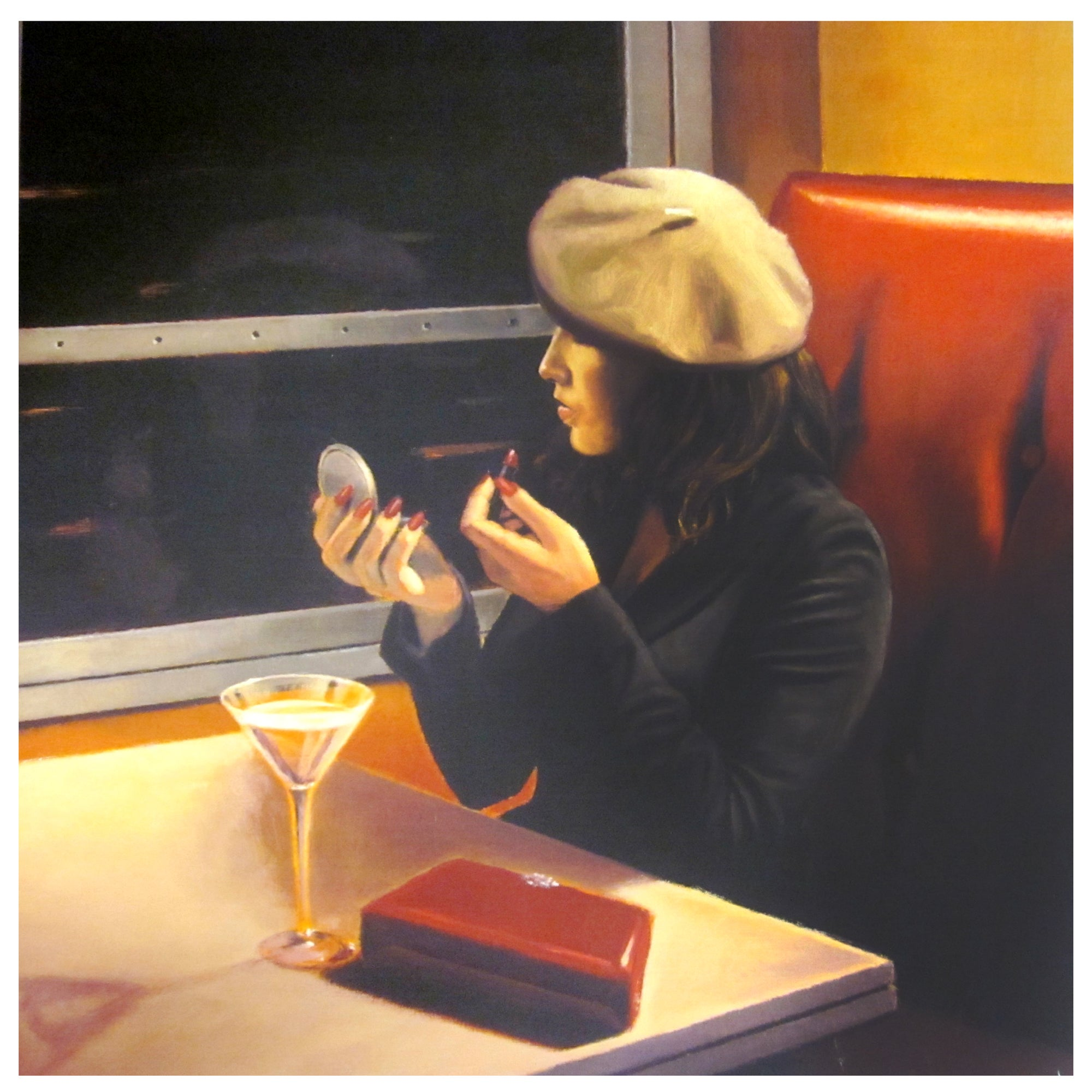 Lady On Train Printed Canvas
