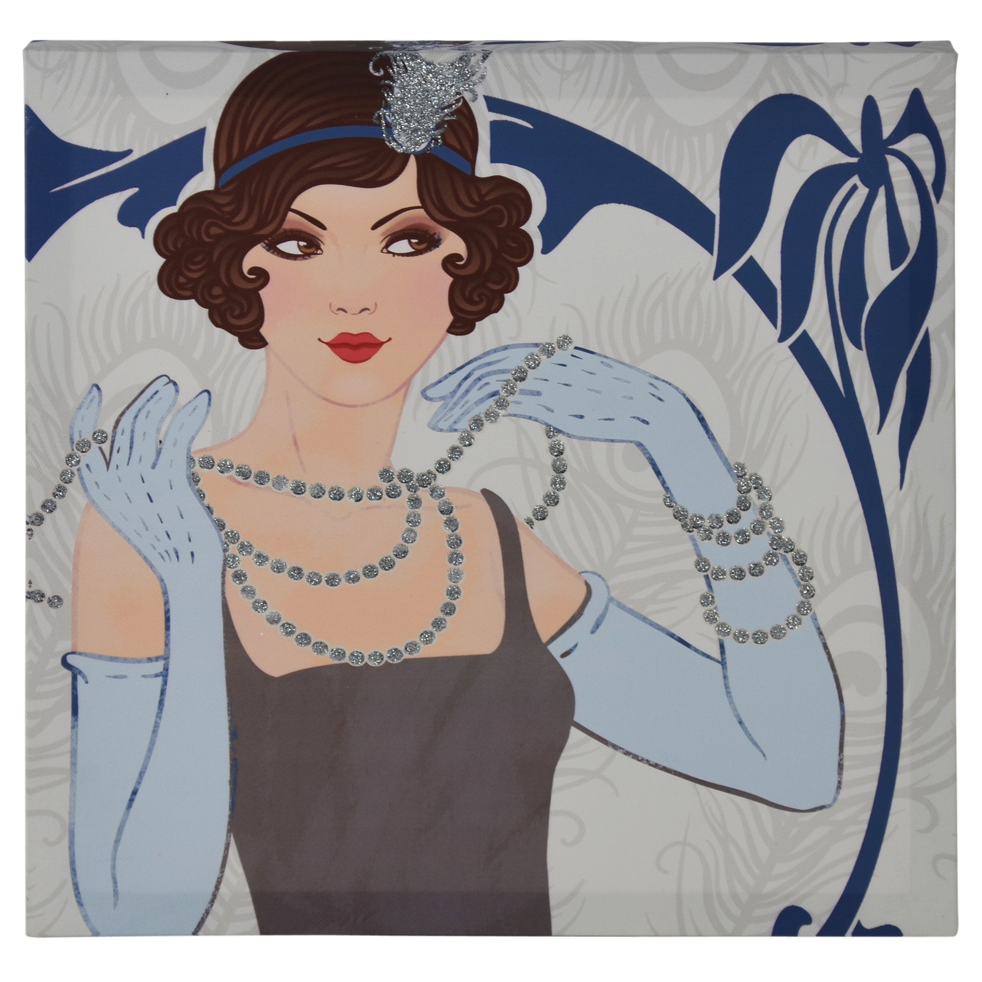 Light Blue Art Deco Glitter Lady Printed Canvas