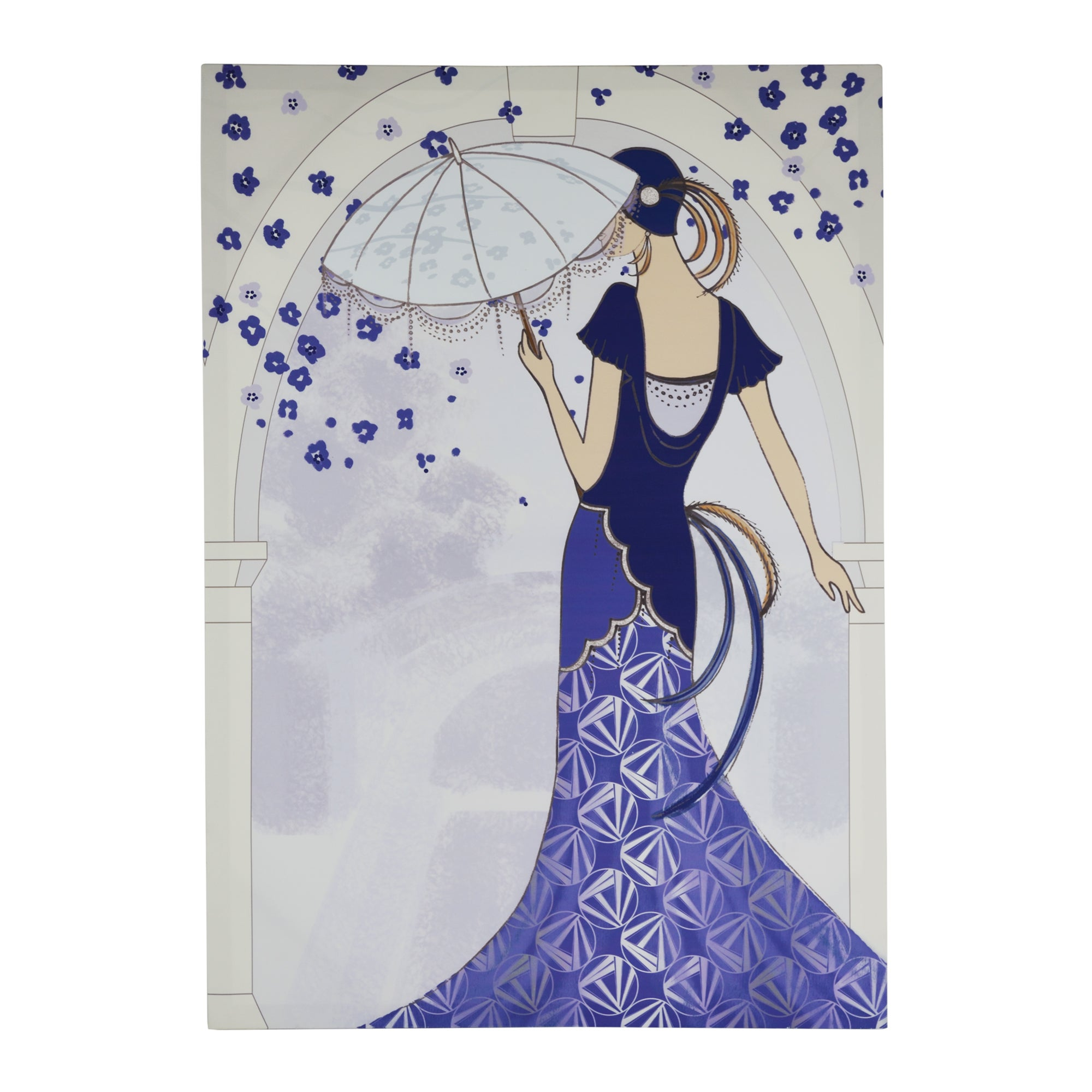Art Deco Lady Umbrella Printed Canvas