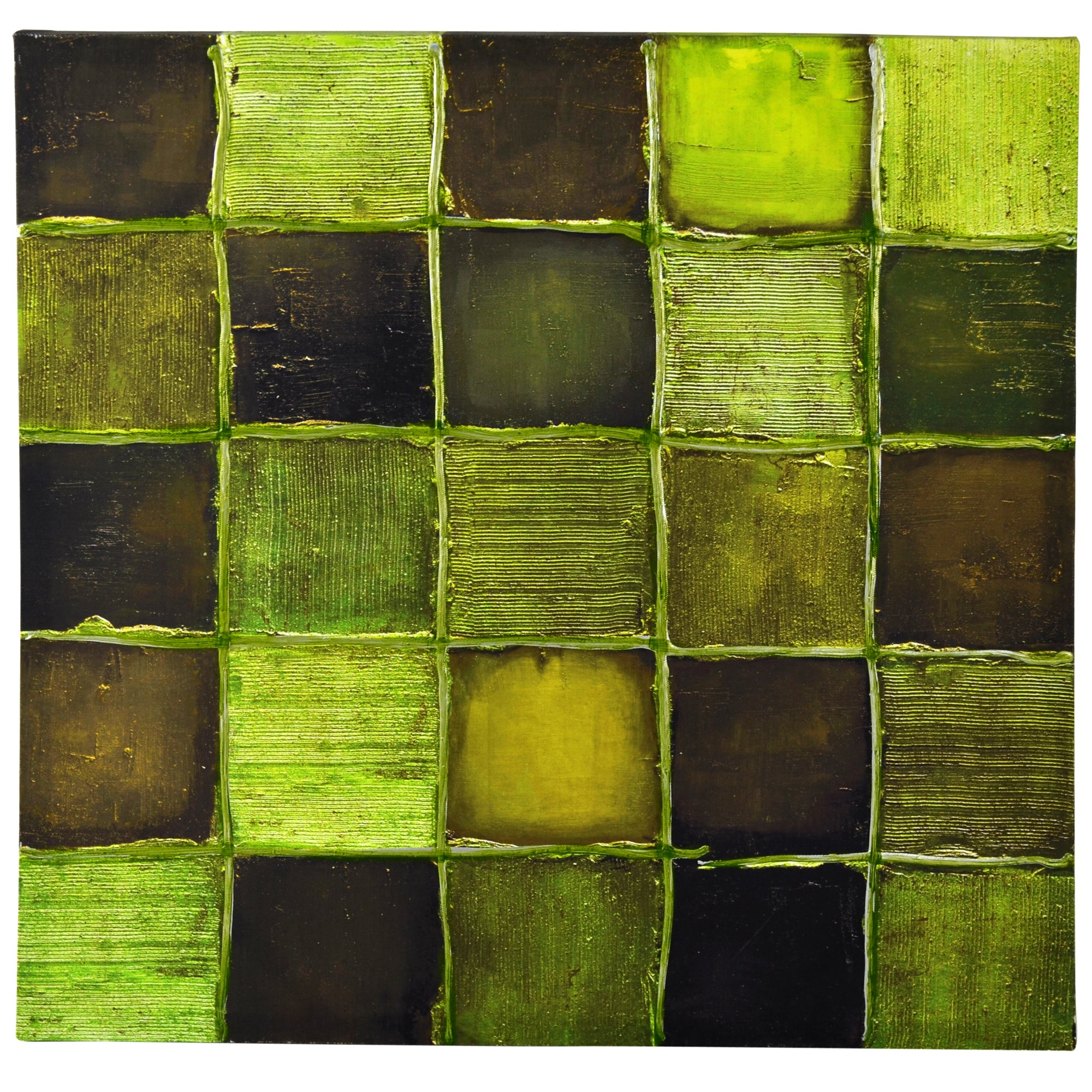 Green Squares Hand Painted Canvas