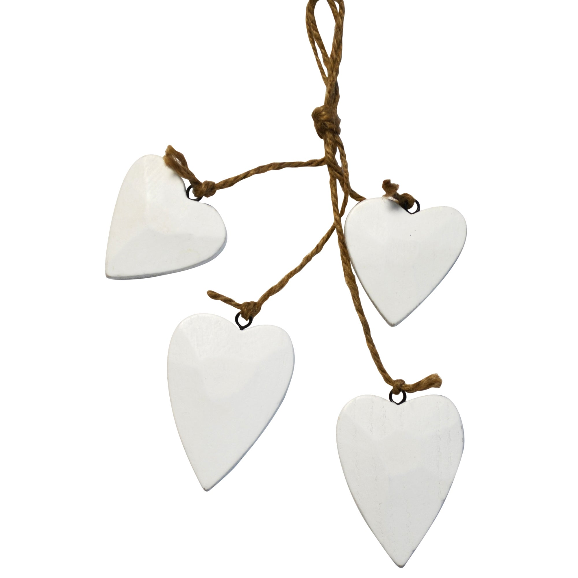 Blue Deco Collection Set of Four Wooden Hanging Hearts