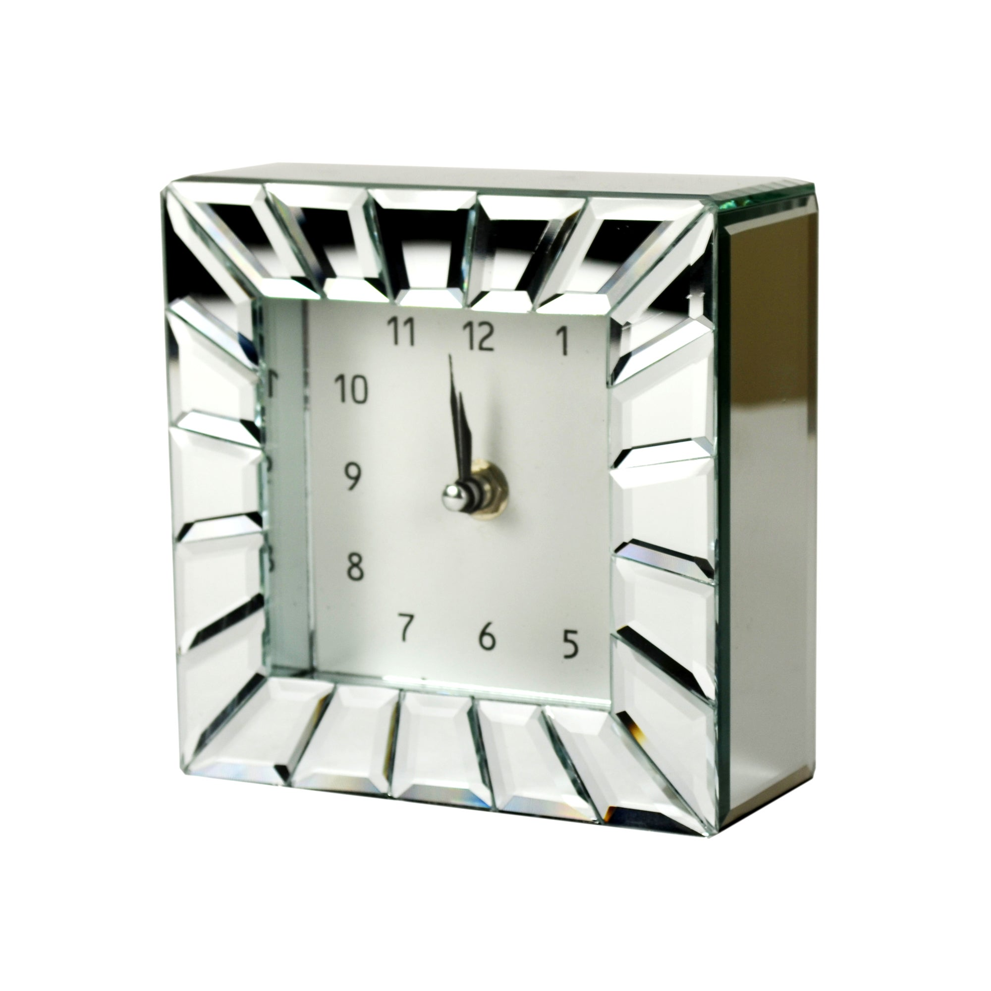 Blue Deco Collection Glass Panelled Mirror Clock