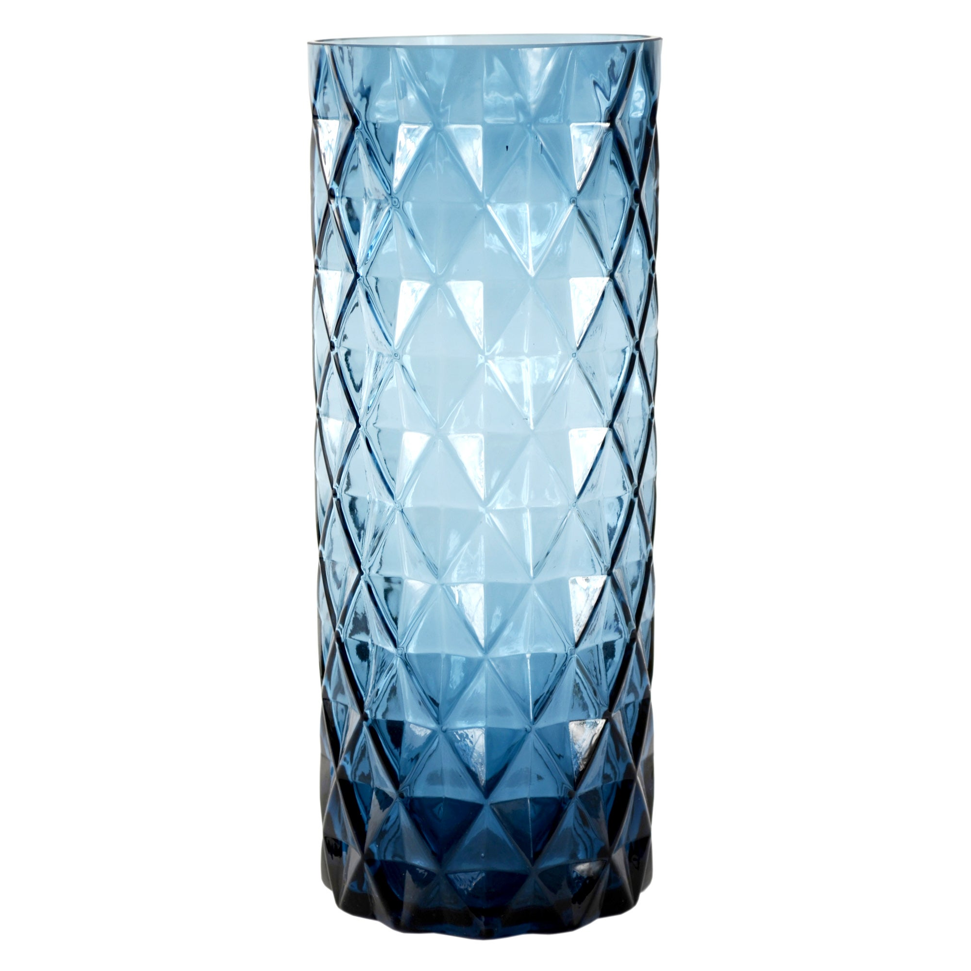 Blue Deco Collection Faceted Glass Vase