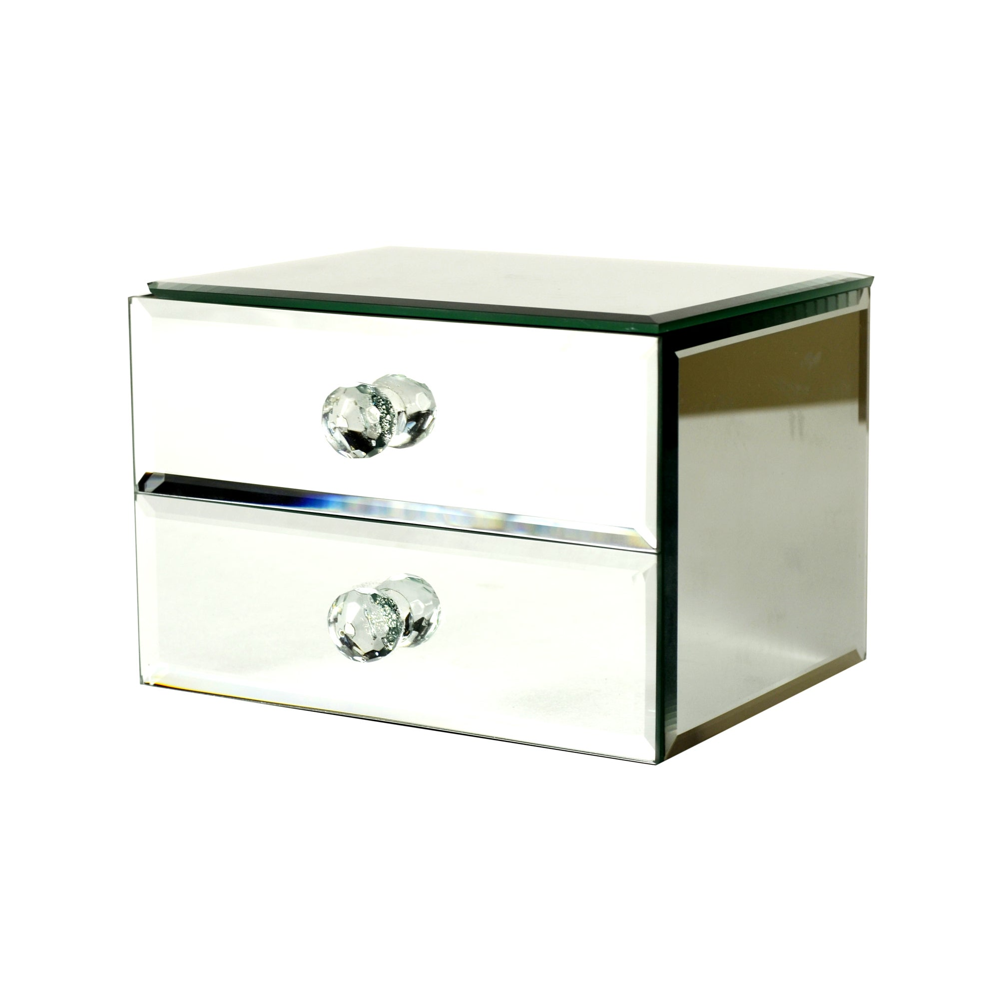 Blue deco collection mirrored jewellery box for Mirror jewellery box