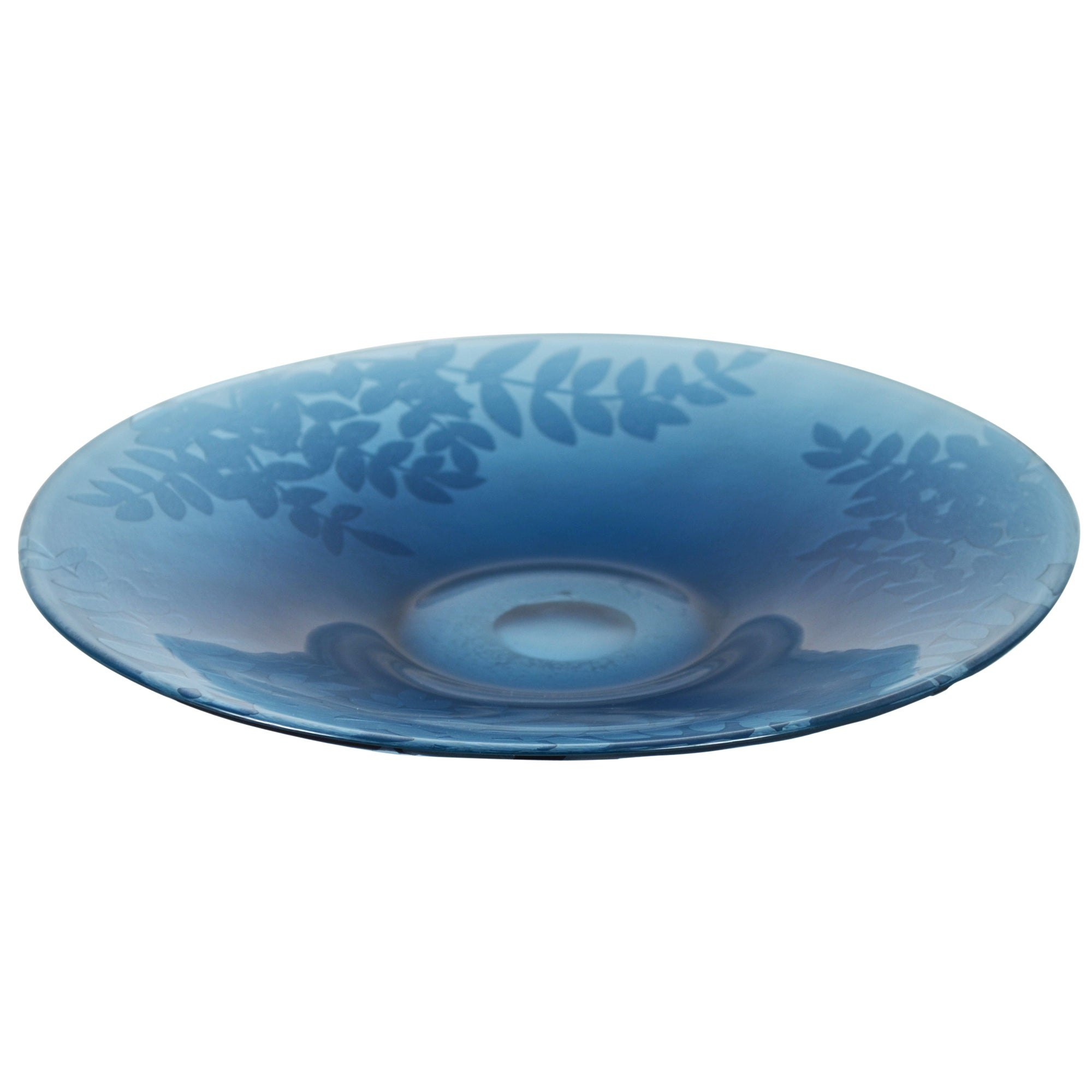 Blue Deco Collection Leaf Design Glass Bowl