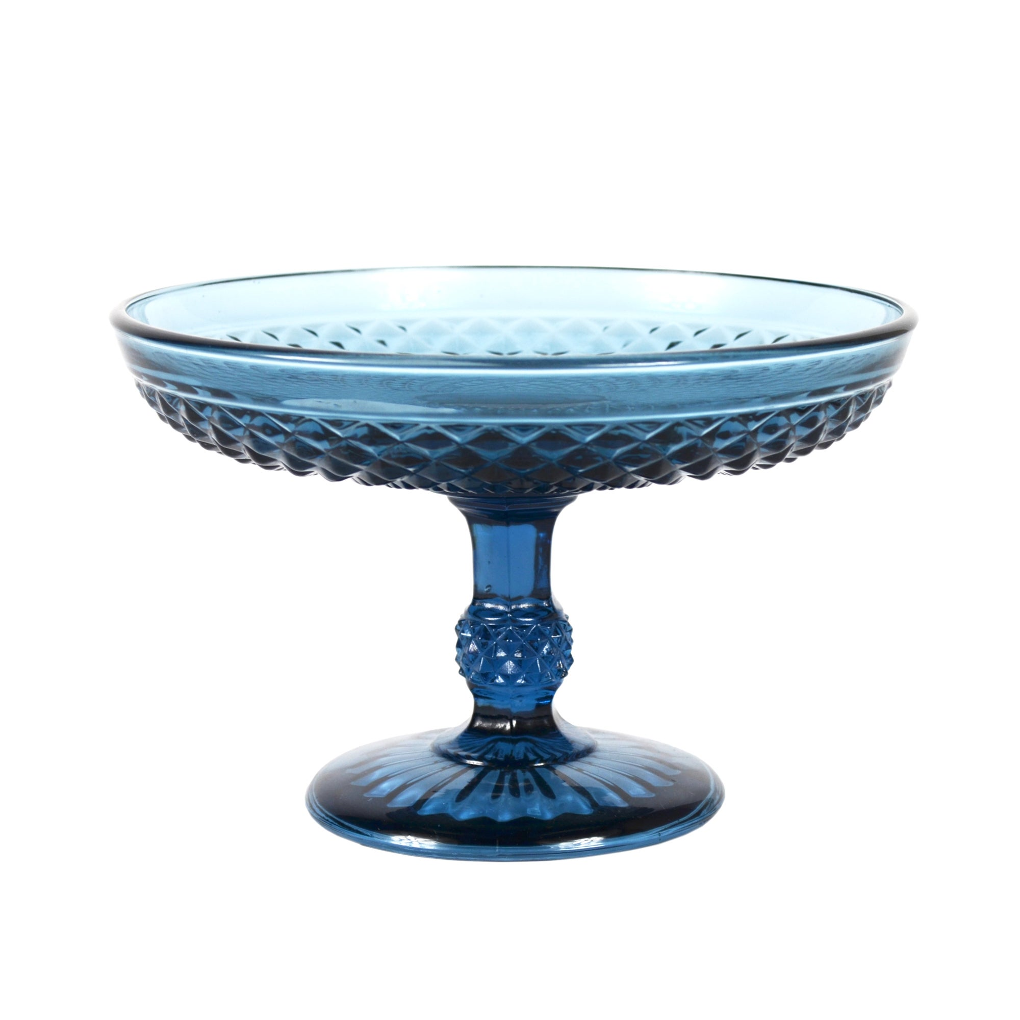 Blue Deco Collection Textured Glass Dish on Stand