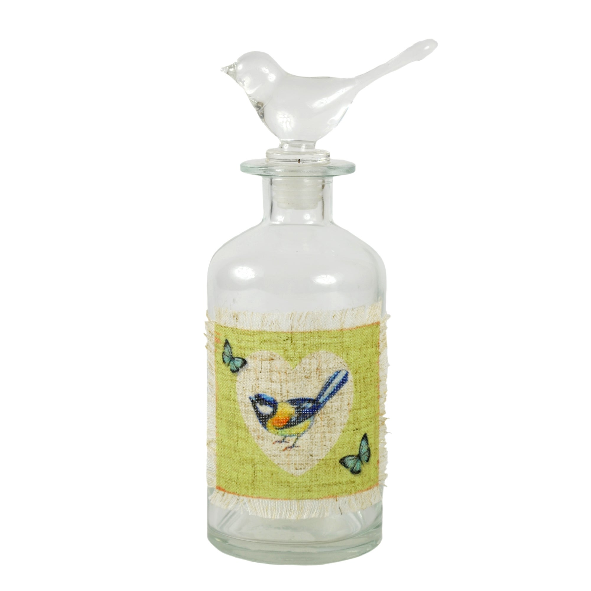 Key Lime Collection Glass Bottle with Bird Stopper