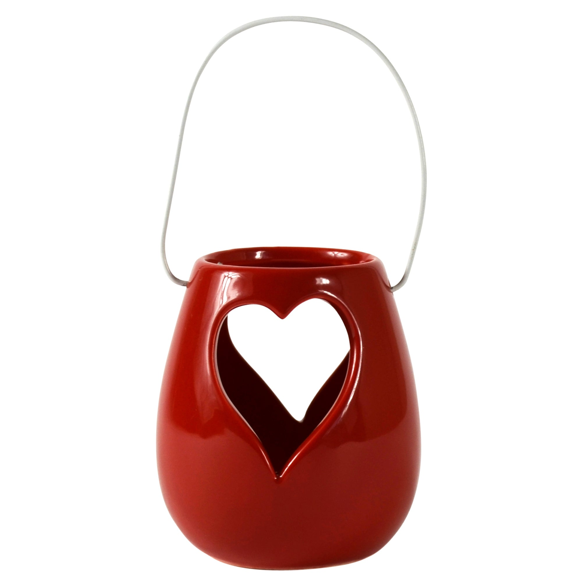 Ruby Collection Heart Cut Out Red Lantern