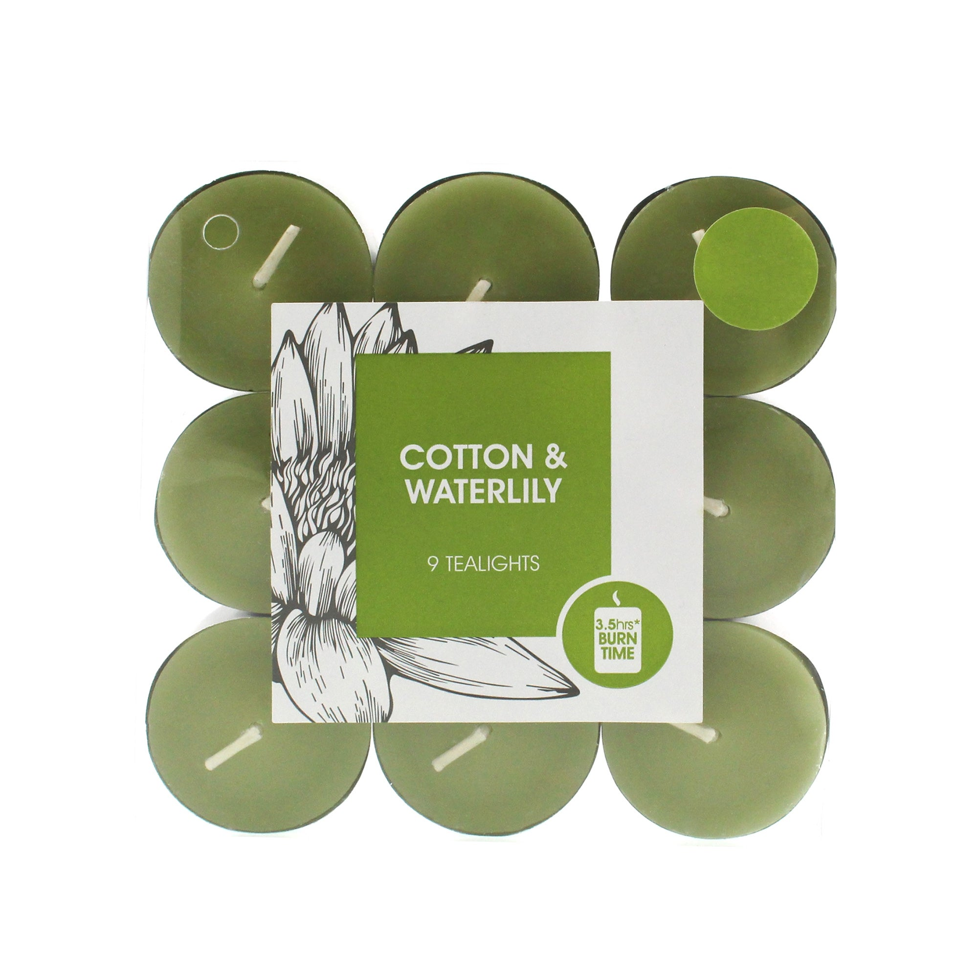 Home Fragrance Pack of 9 Cotton and Water Lily Scented Tea Lights