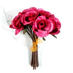 Artificial Hand Tied Magenta Rose Bundle