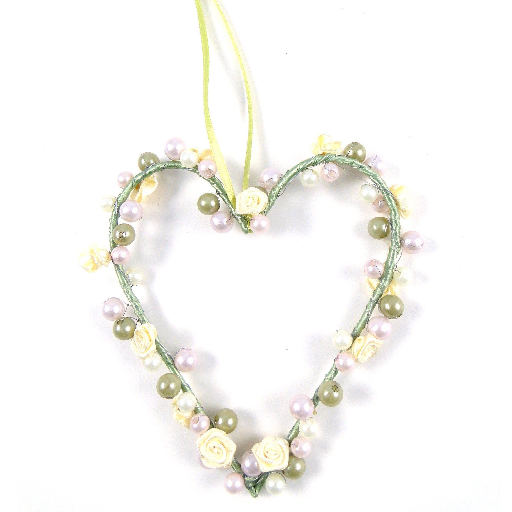 Hanging Heart with Rose and Bead Trim