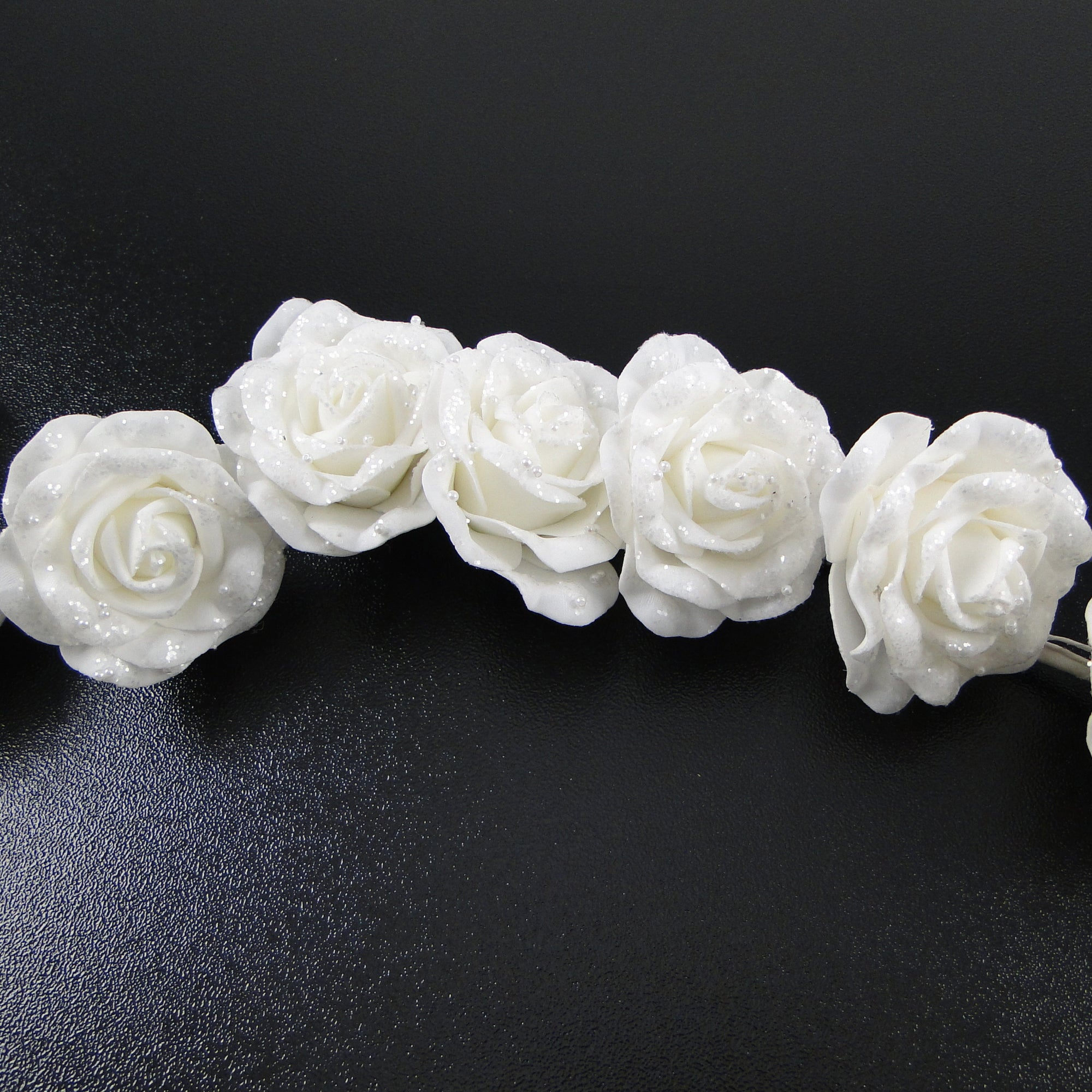 Wedding Collection Glitter and Bead Rose Garland