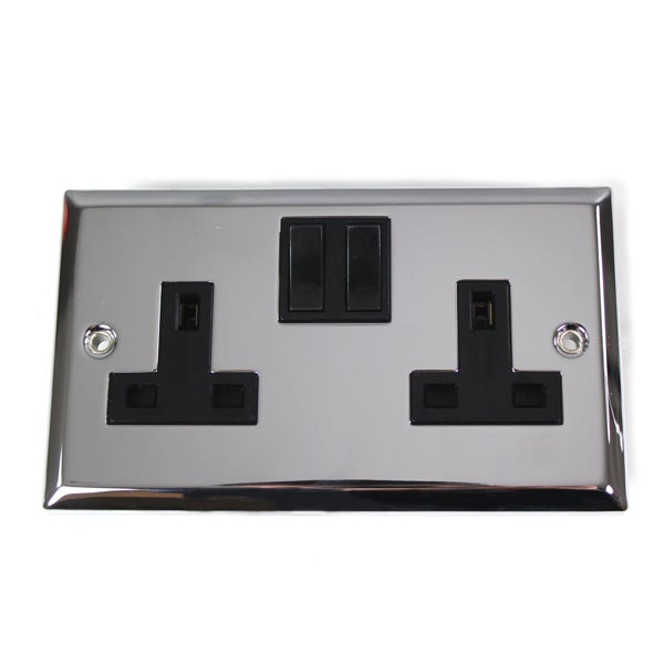 2 Gang Switch Chrome Wall Socket