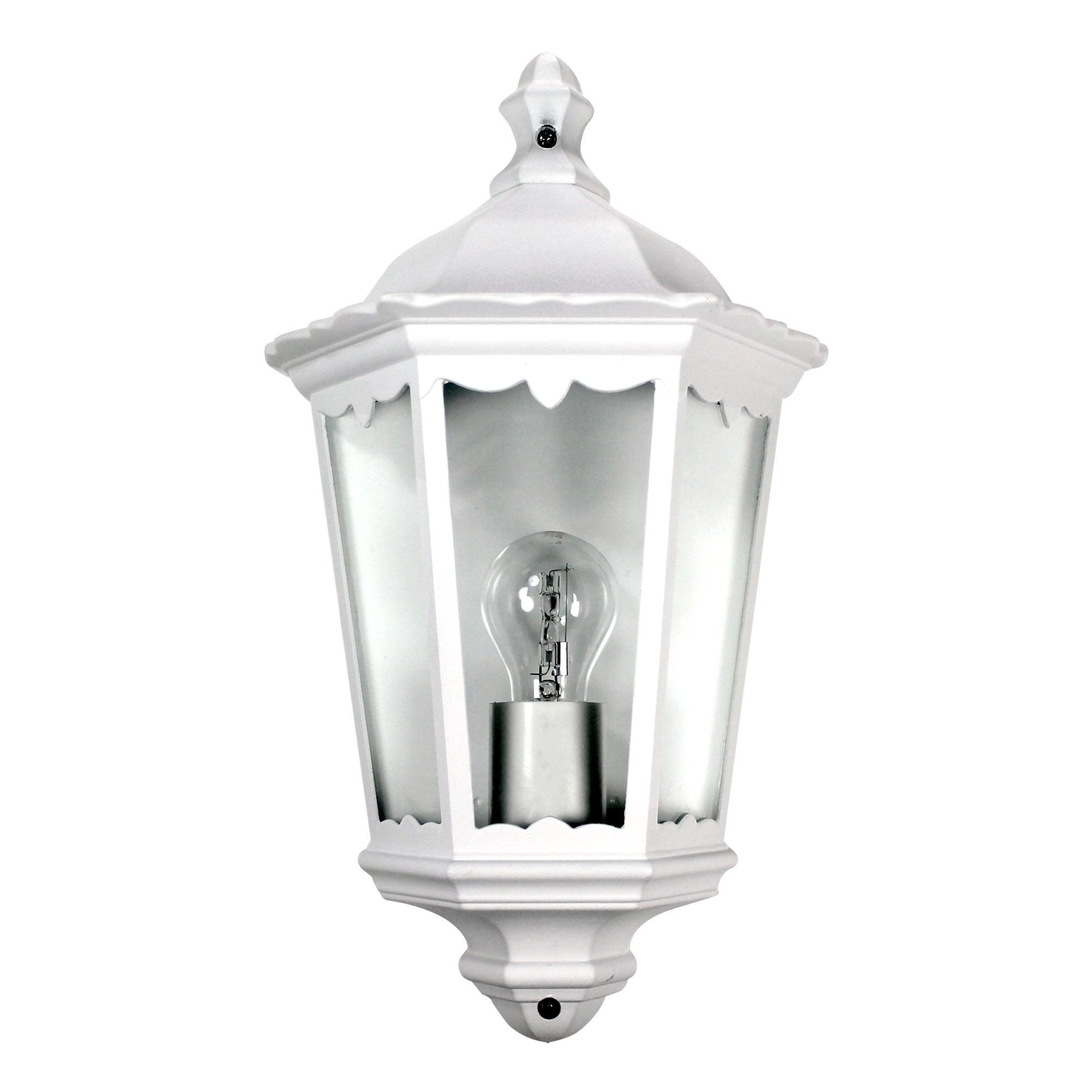 White Outdoor Half Wall Lantern