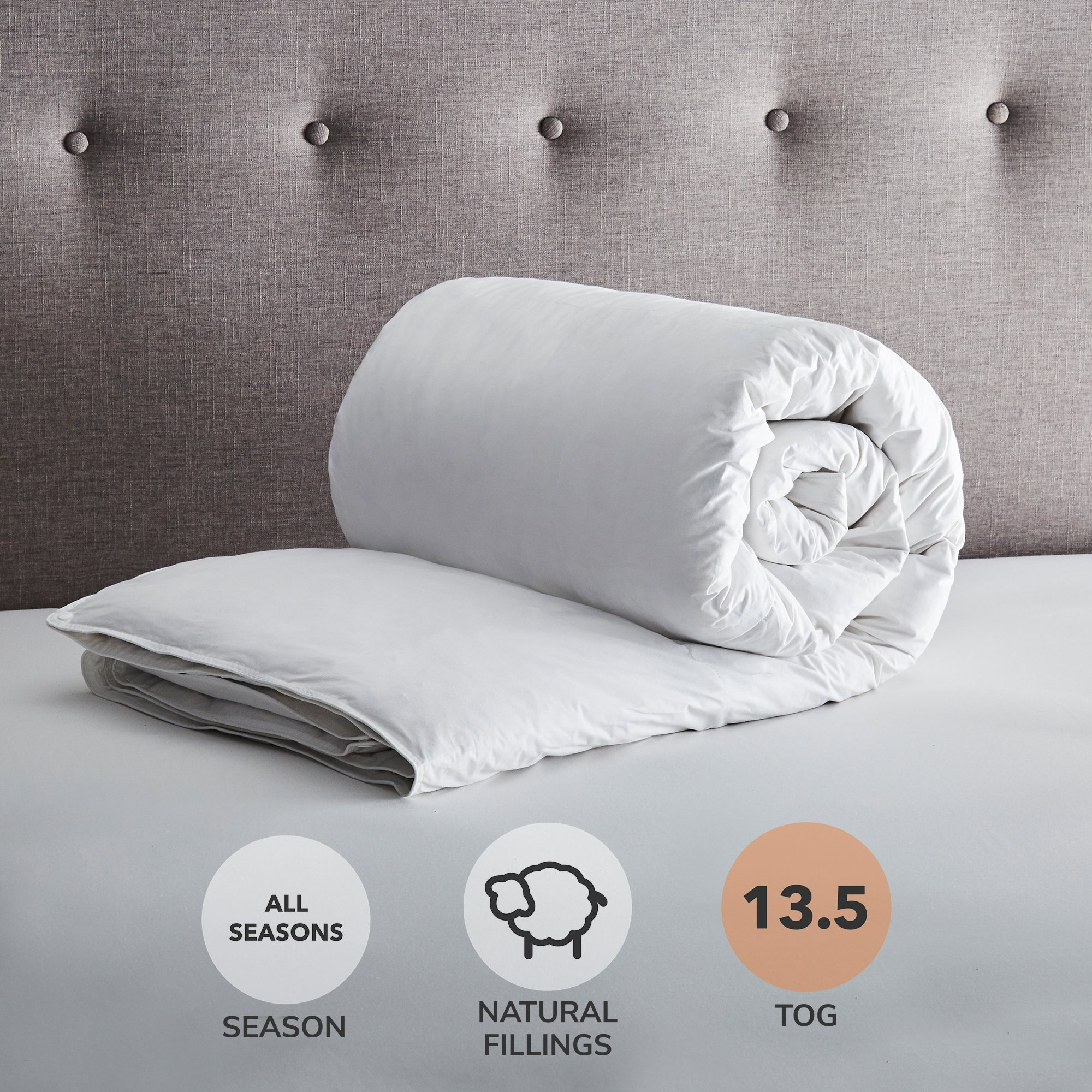 Hotel All Seasons 13.5 Tog White Goose Feather and Down Duvet