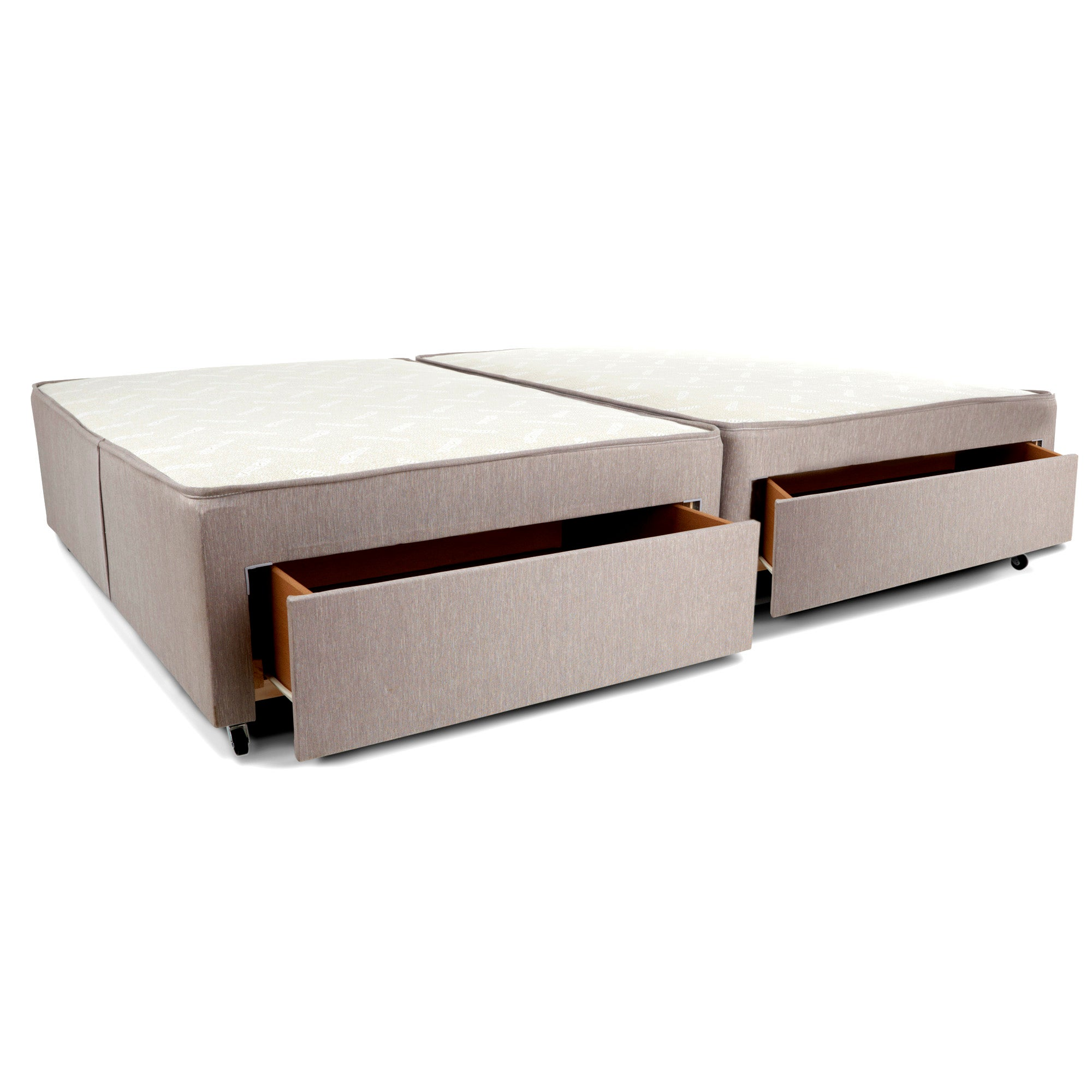 Padded Single Divan Base with 2 Drawers Right Side