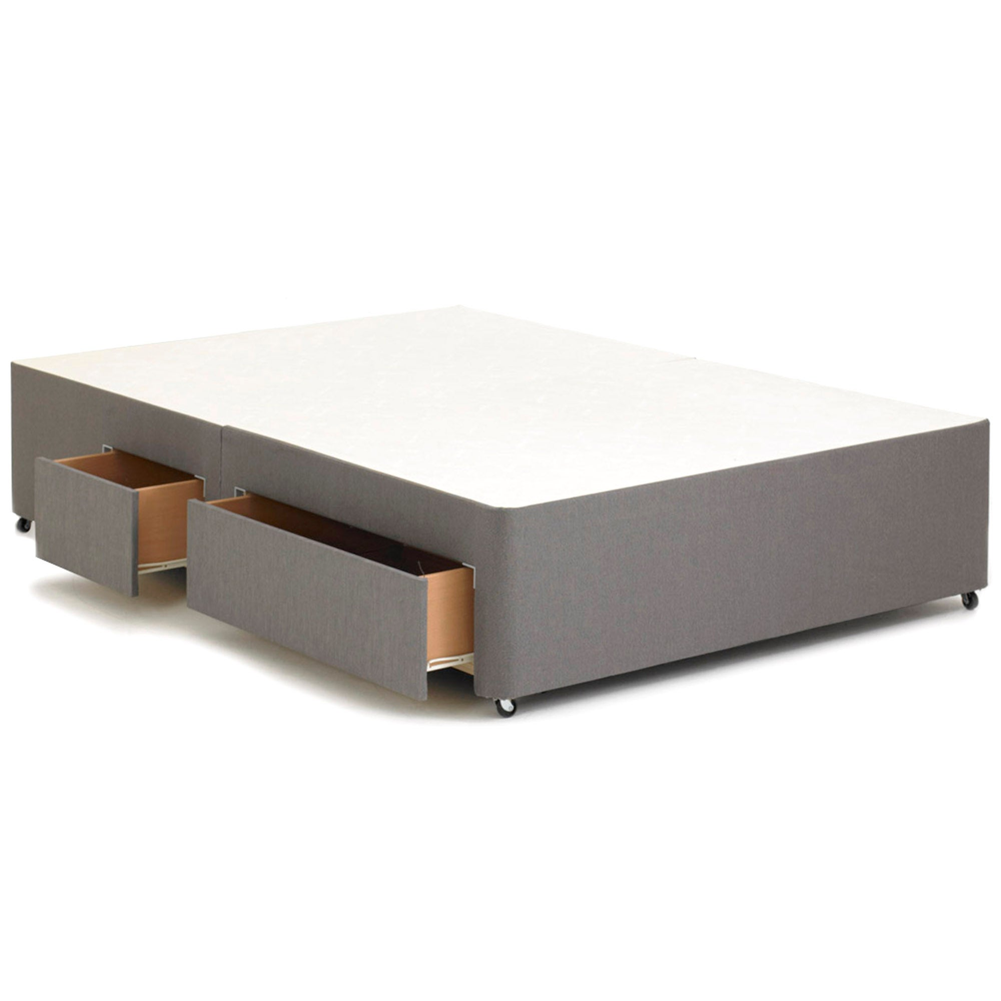 Sprung Single Divan Base with 2 Drawers Left Side