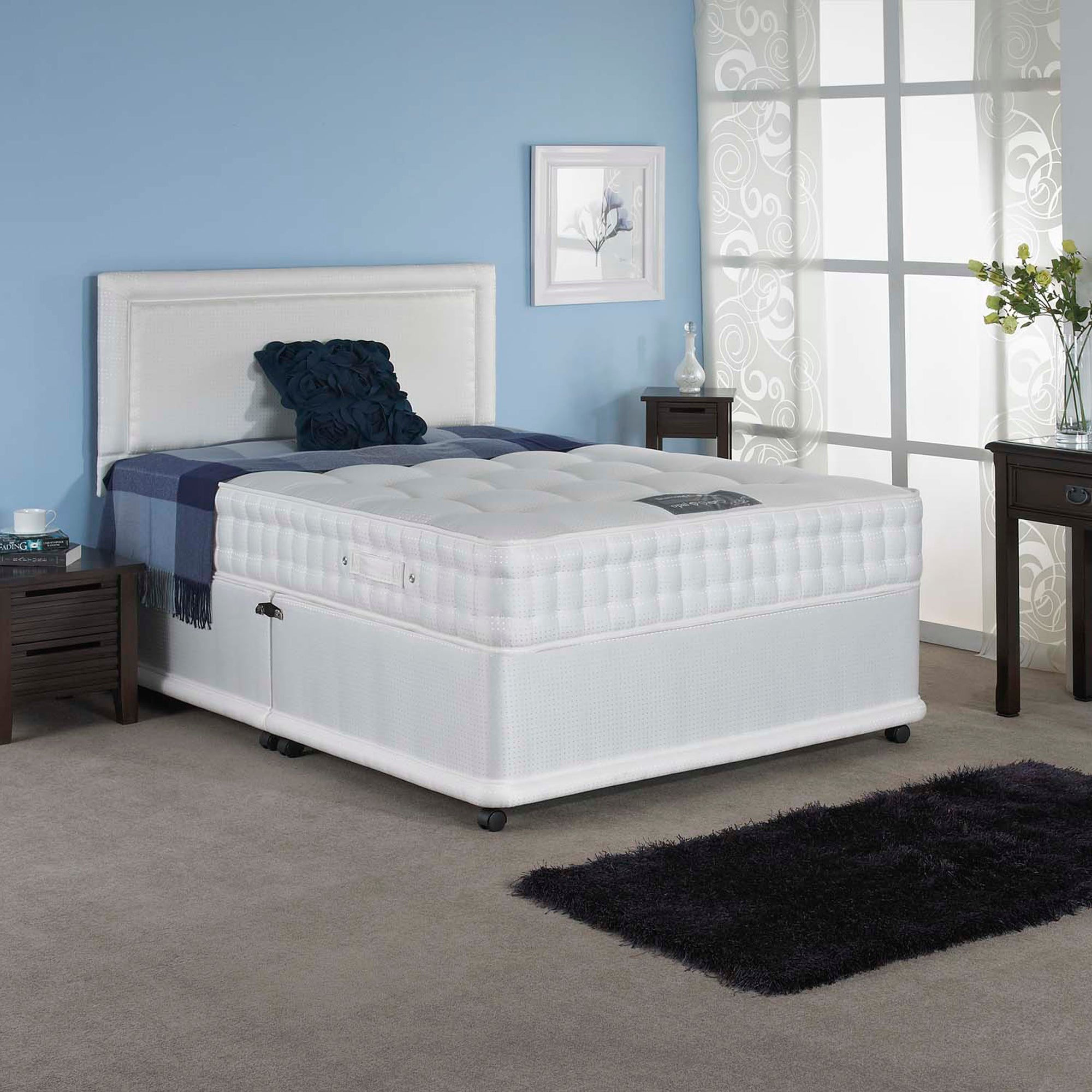 Carlisle Padded Single Divan Set with 2 Drawers Left Side