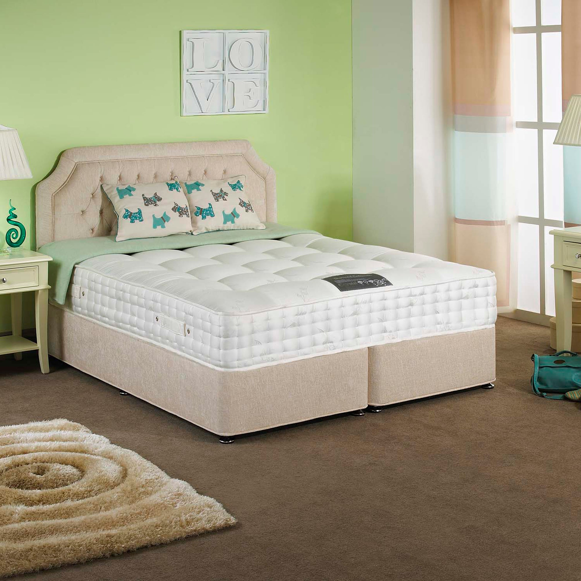 Stratford Padded Single Divan Set with 2 Drawers Right Side
