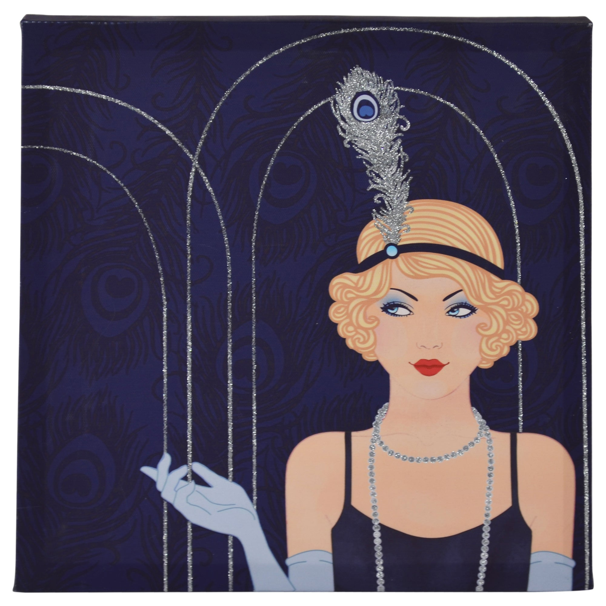Dark Blue Art Deco Glitter Lady Printed Canvas