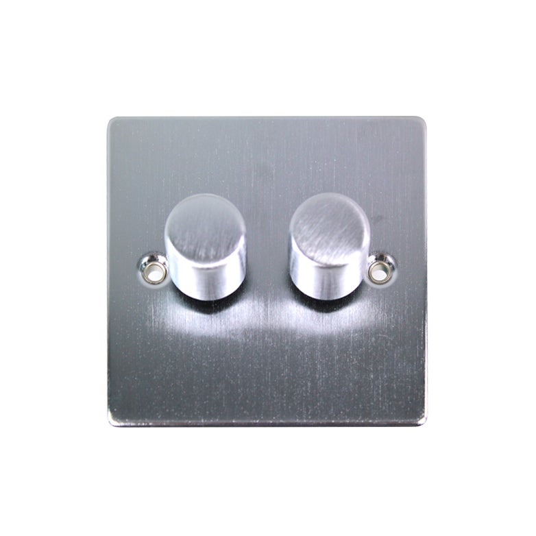 2 Gang 2 Way Brushed Chrome Dimmer Switch