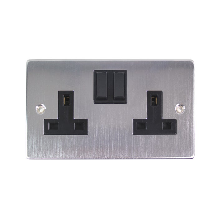 2 Gang Switch Brushed Chrome Wall Socket