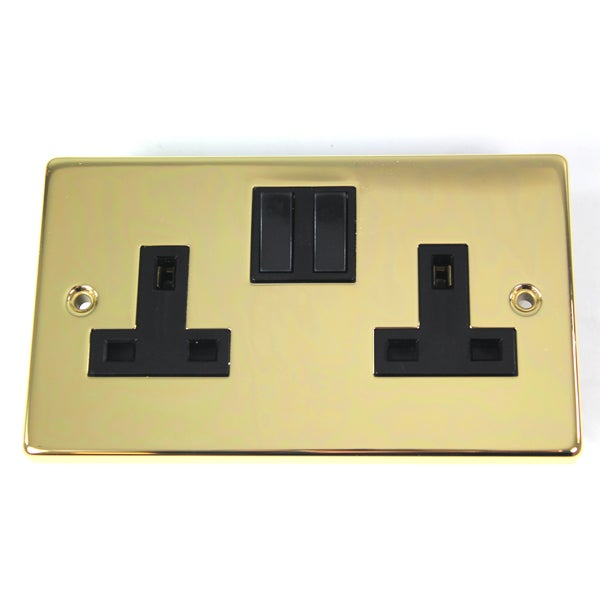 2 Gang Switch Antique Brass Wall Socket