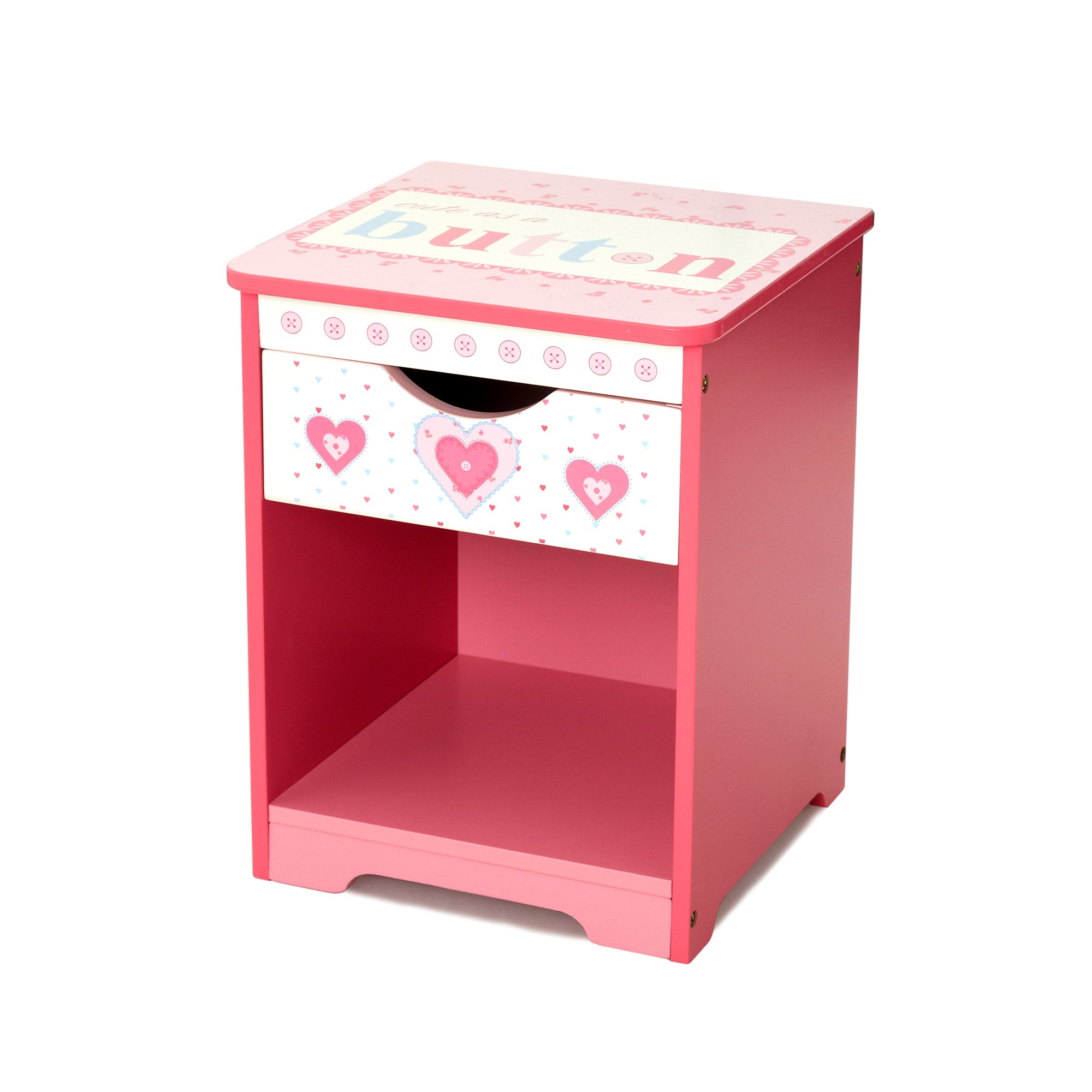 kids cute as a button collection bedside table dunelm. Black Bedroom Furniture Sets. Home Design Ideas