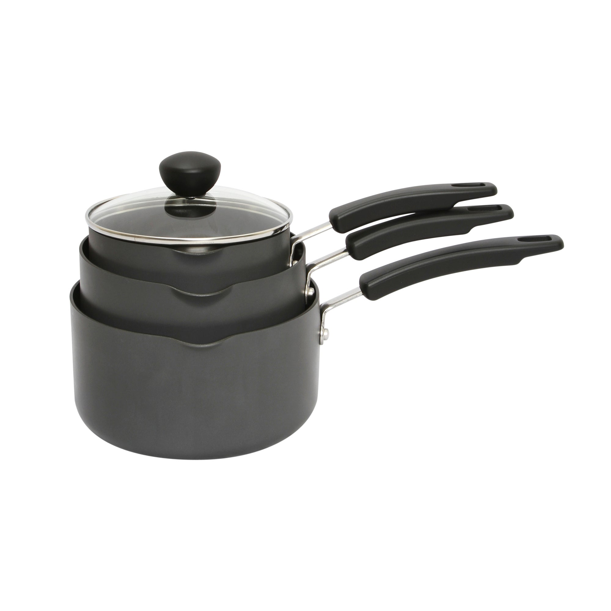 Dunelm Hard Anodised 3 Piece Saucepan Set