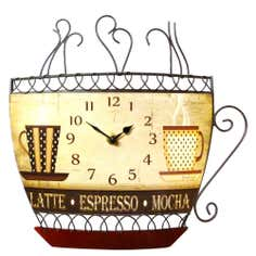 Coffee Cup Metal Clock