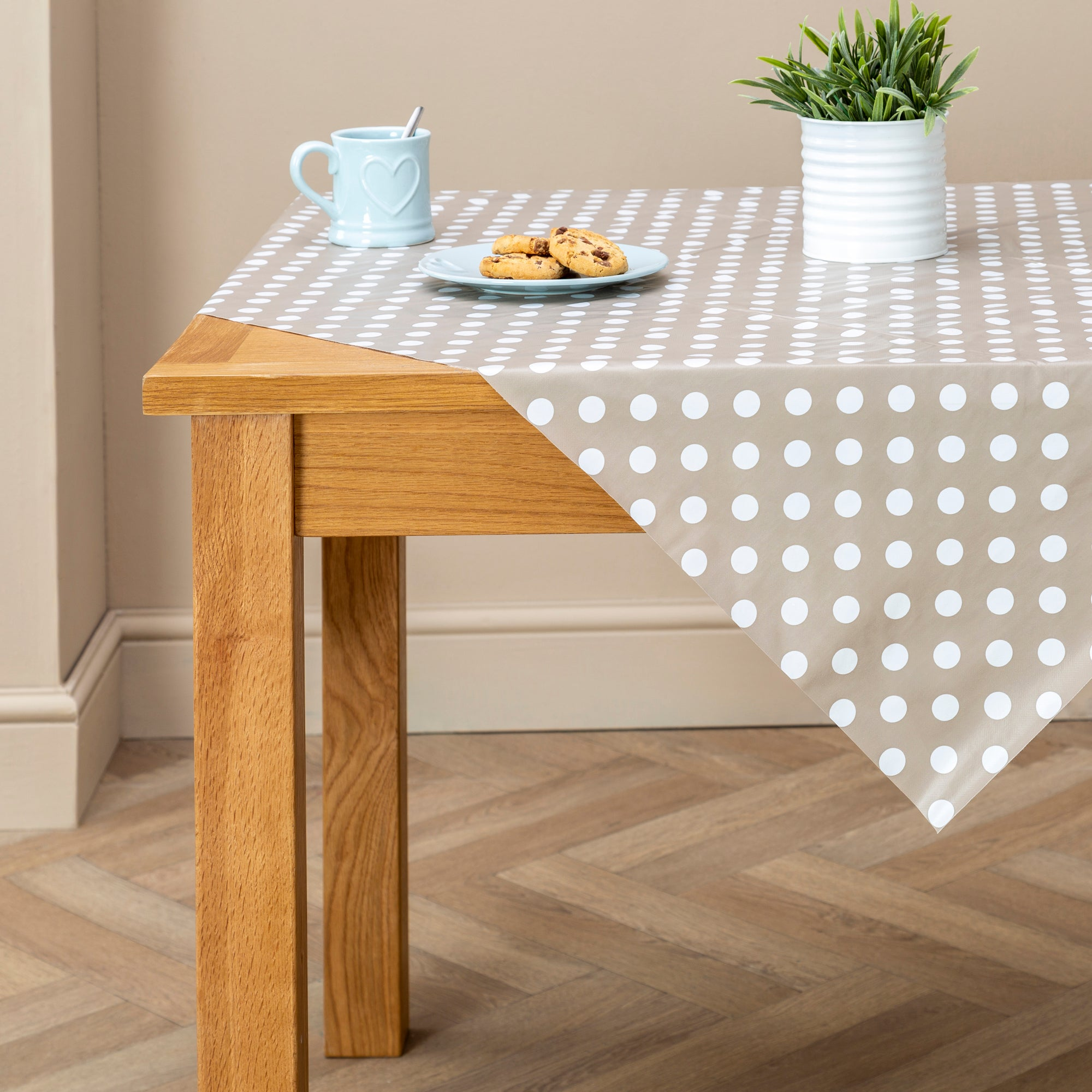 Taupe Dotty Square PVC Tablecloth