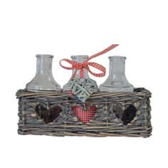 Natural Ruby Collection Wicker Basket With Glass Bottles