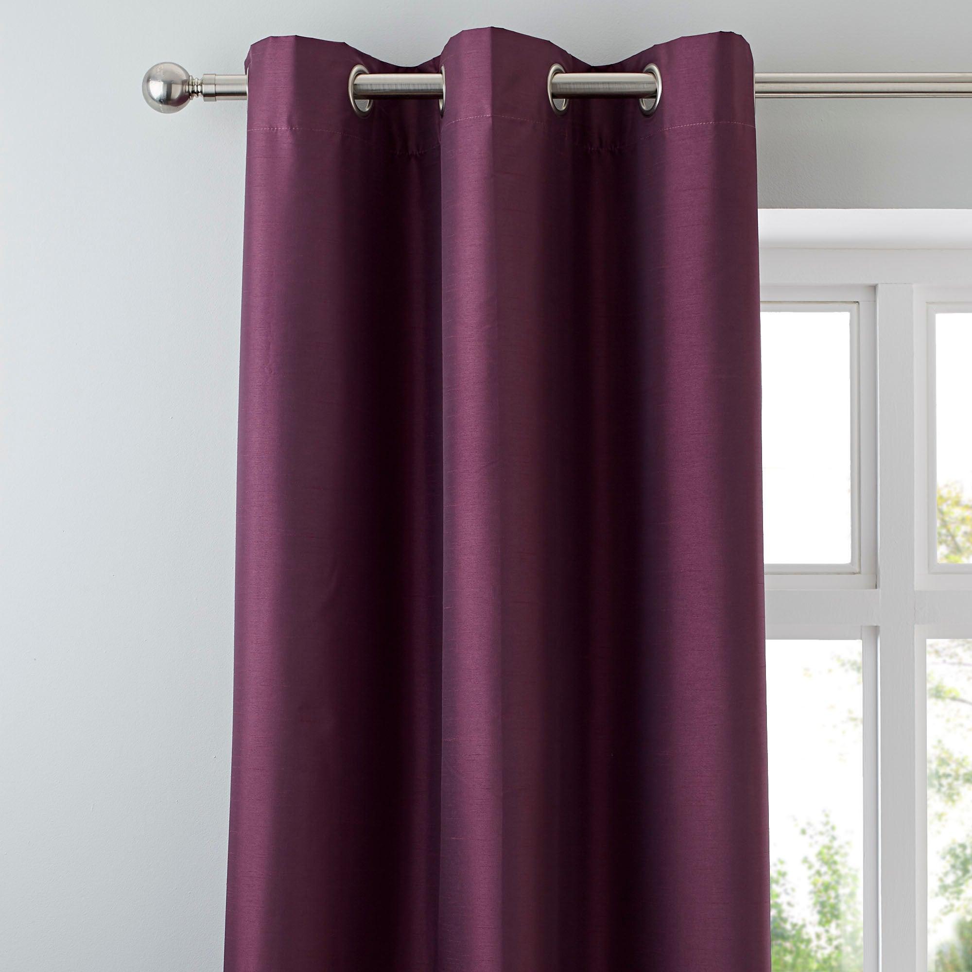 Aubergine Nova Blackout Lined Eyelet Curtains