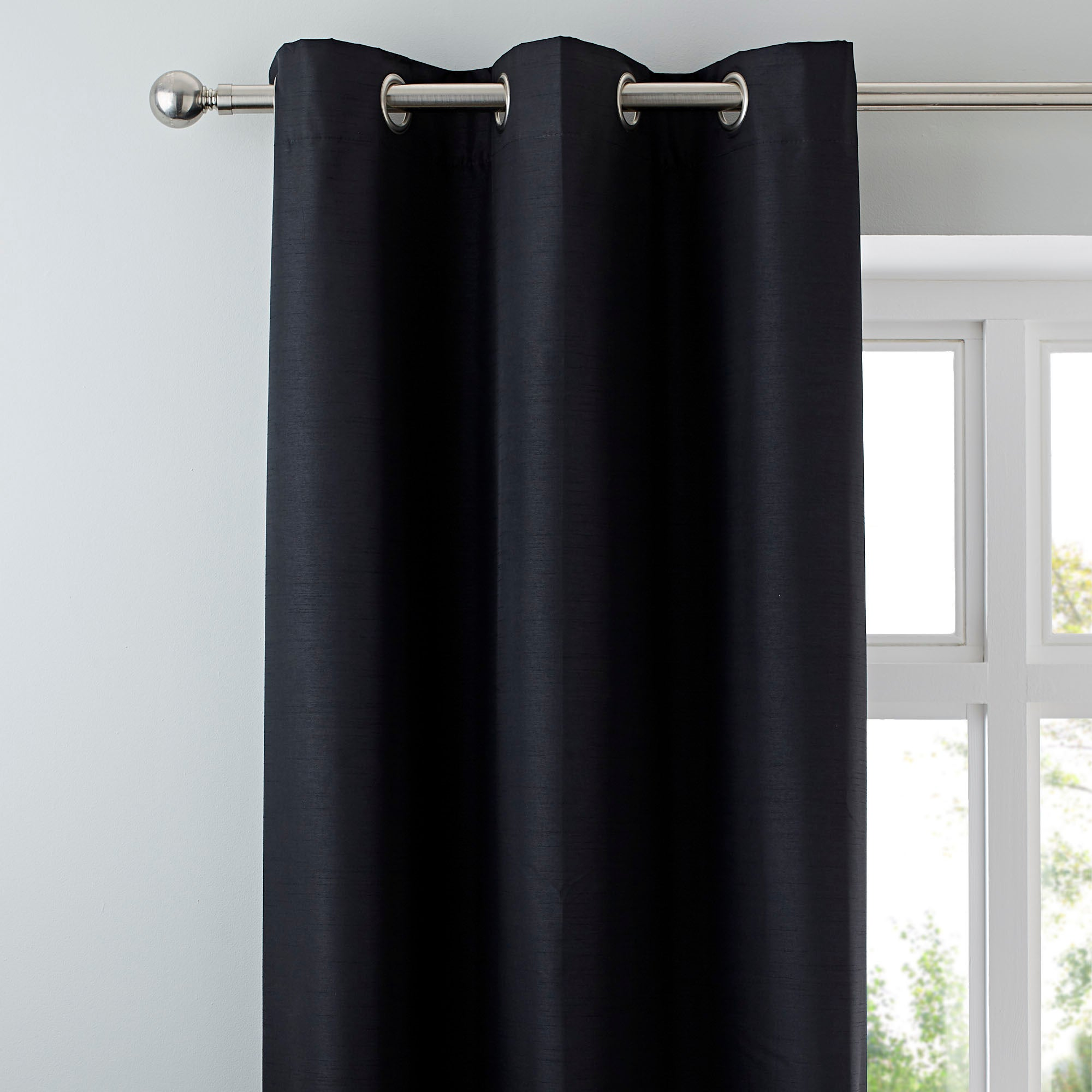 Black Nova Blackout Lined Eyelet Curtains