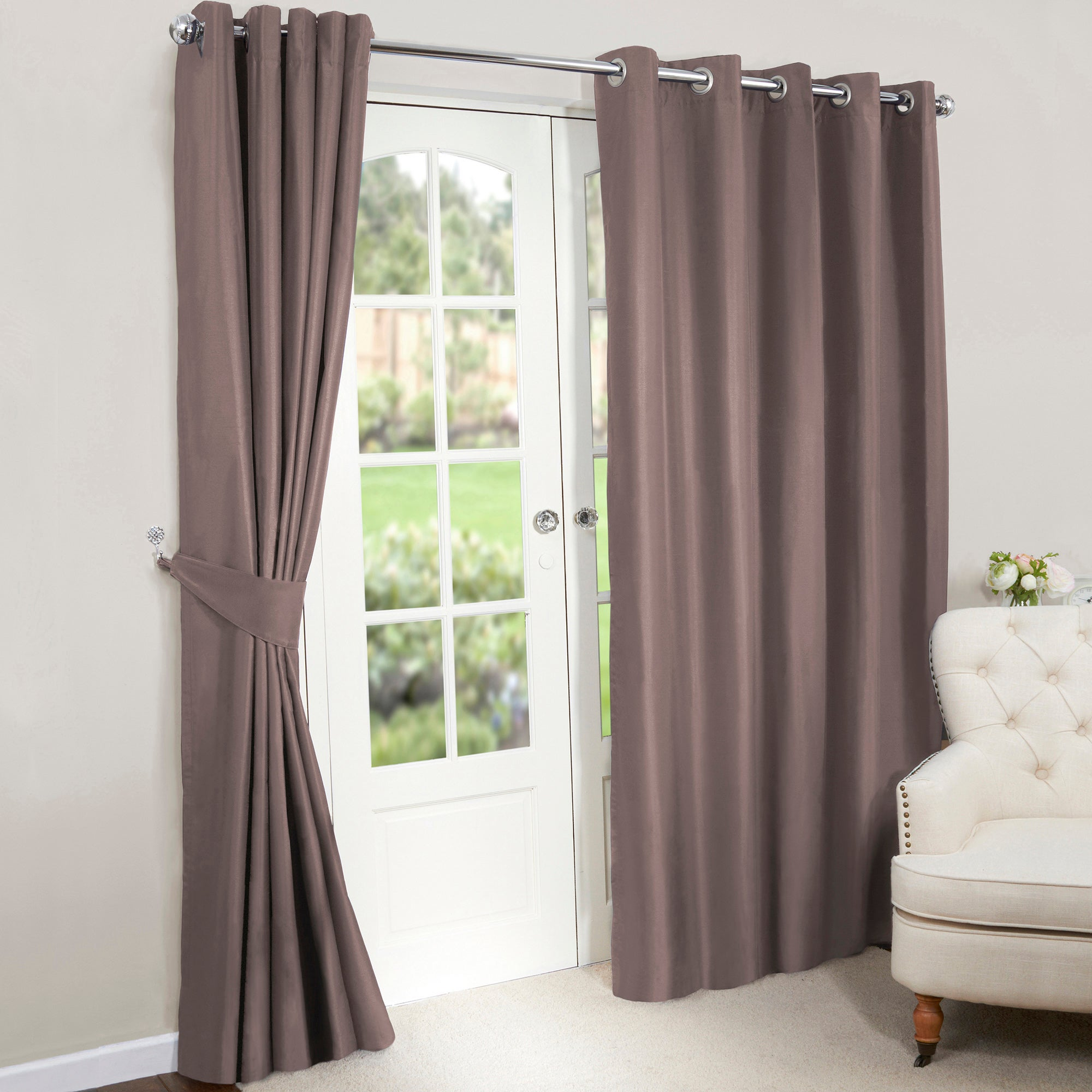 Gold Nova Blackout Lined Eyelet Curtains