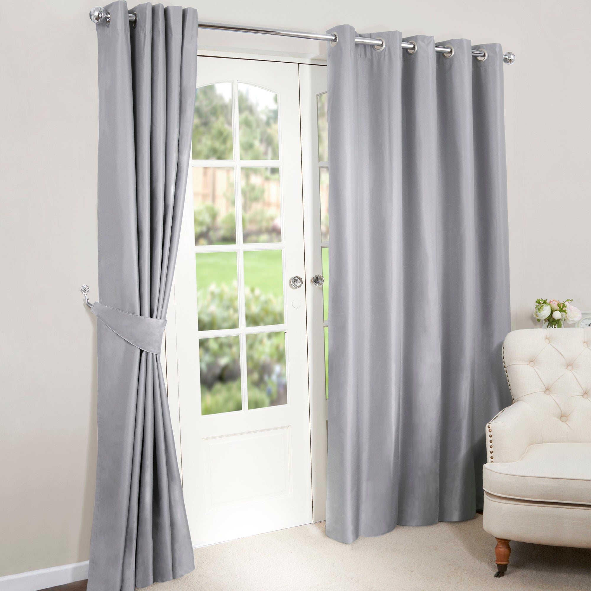 Silver Nova Blackout Lined Eyelet Curtains